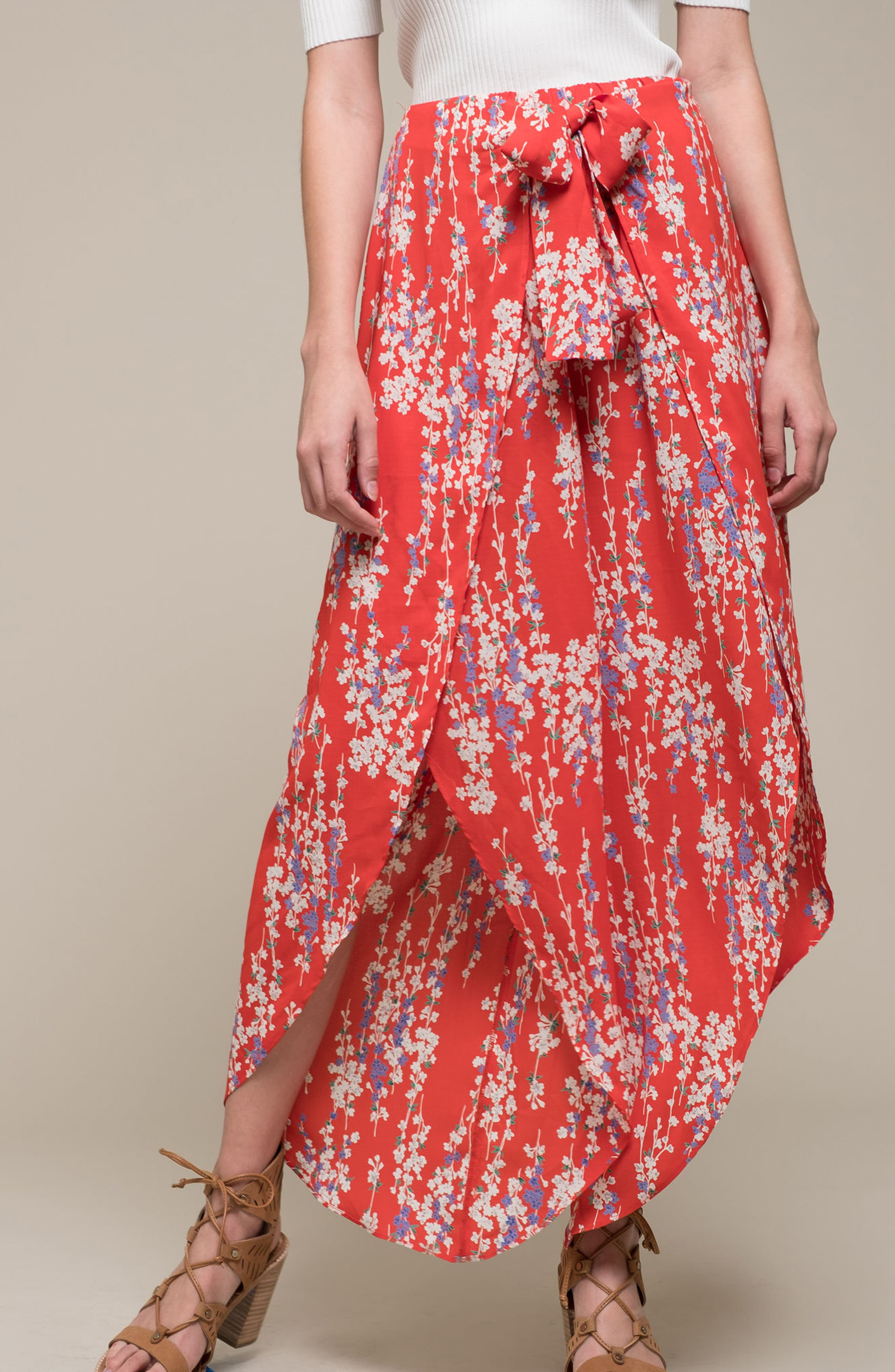 Floral Tie Front Split Hem Pants,                             Alternate thumbnail 2, color,                             Red Floral