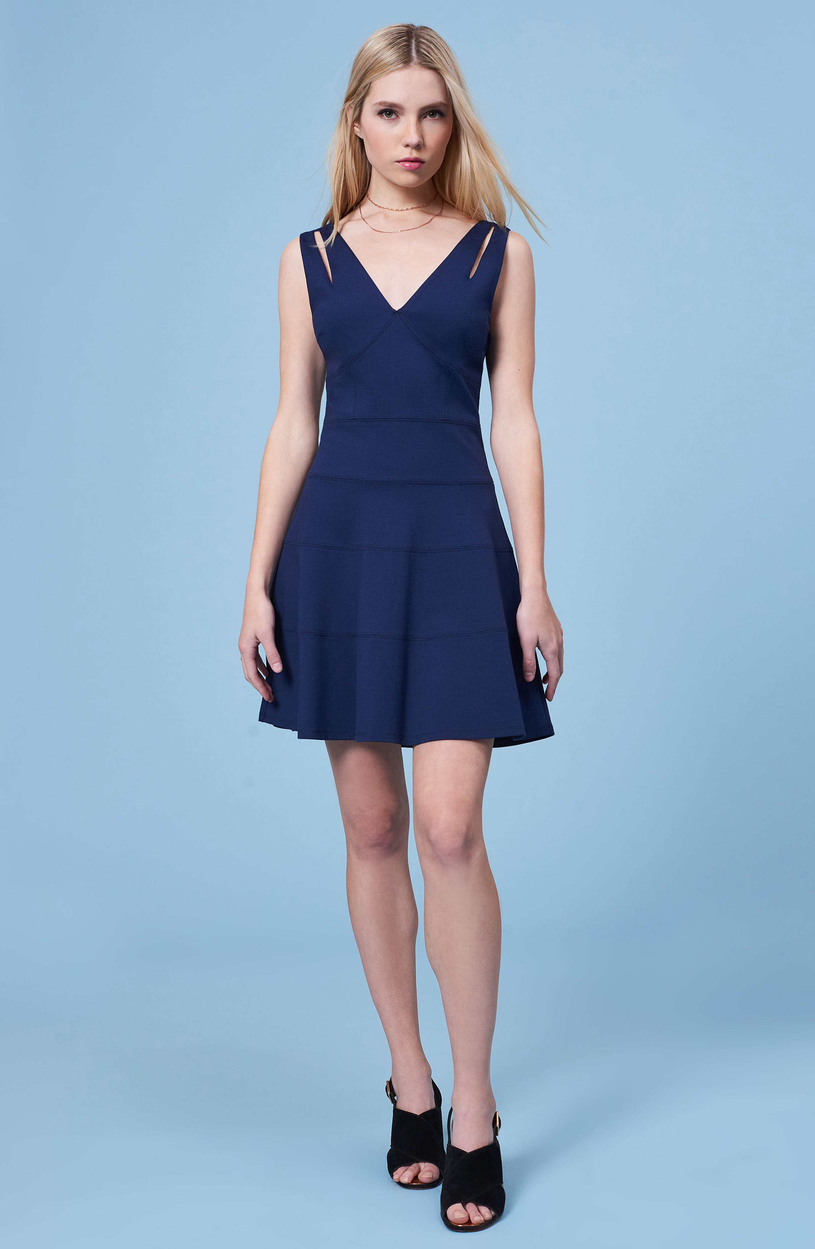 Lace Back Fit & Flare Dress,                             Alternate thumbnail 2, color,                             Navy