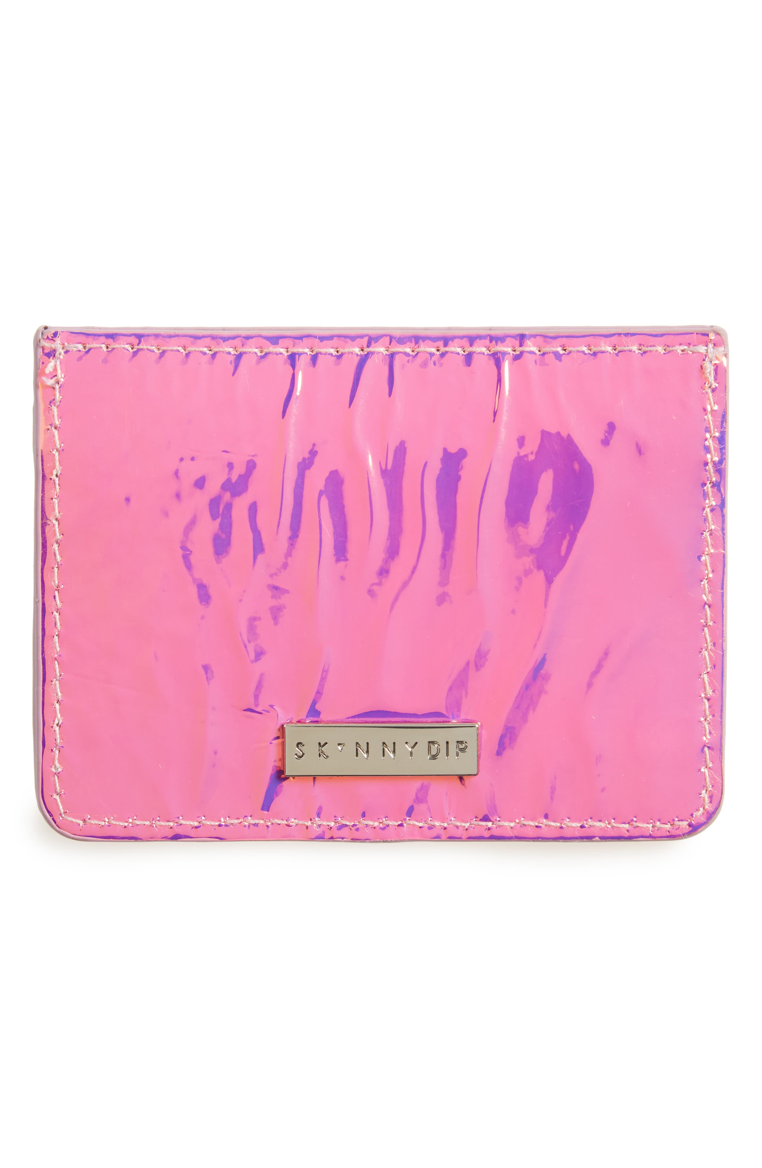 Holographic Card Case,                             Main thumbnail 1, color,                             Pink