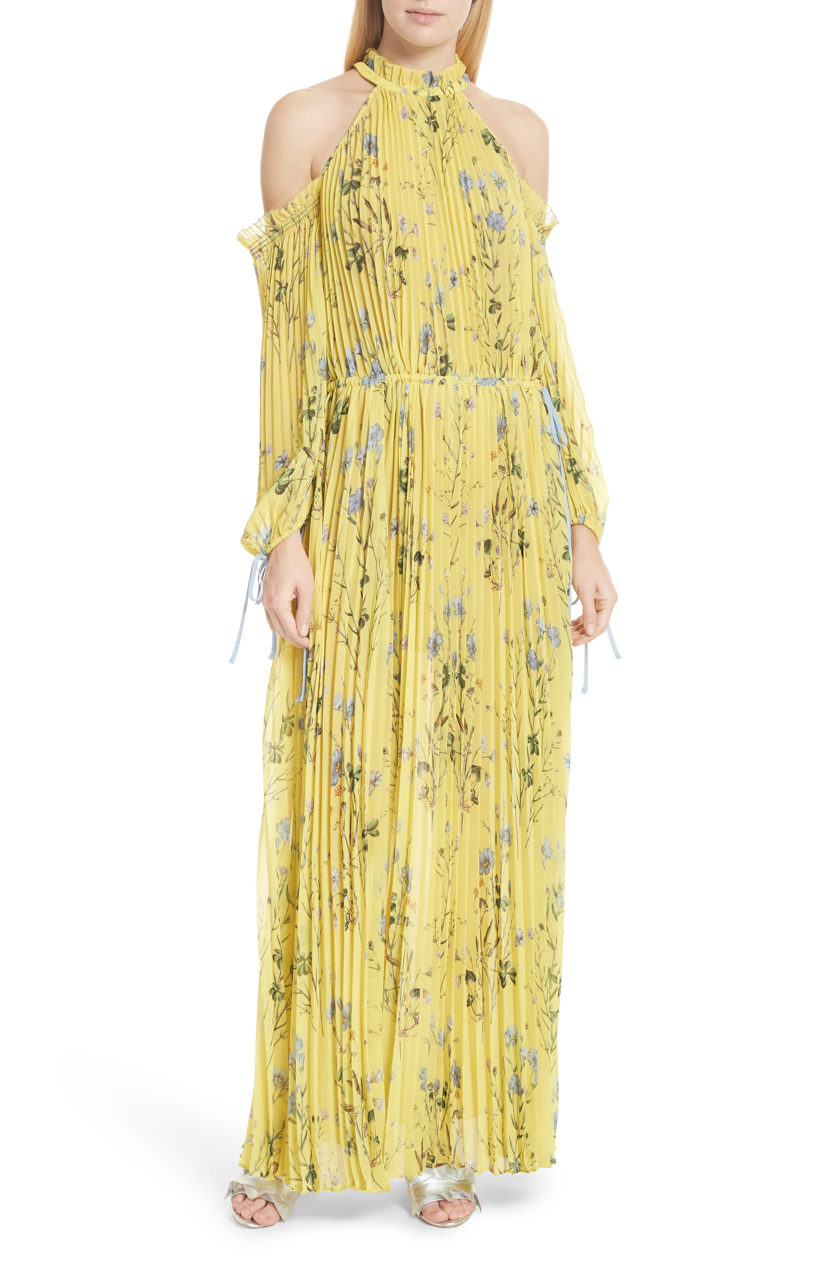 Floral Pleated Cold Shoulder Maxi Dress,                         Main,                         color, Yellow
