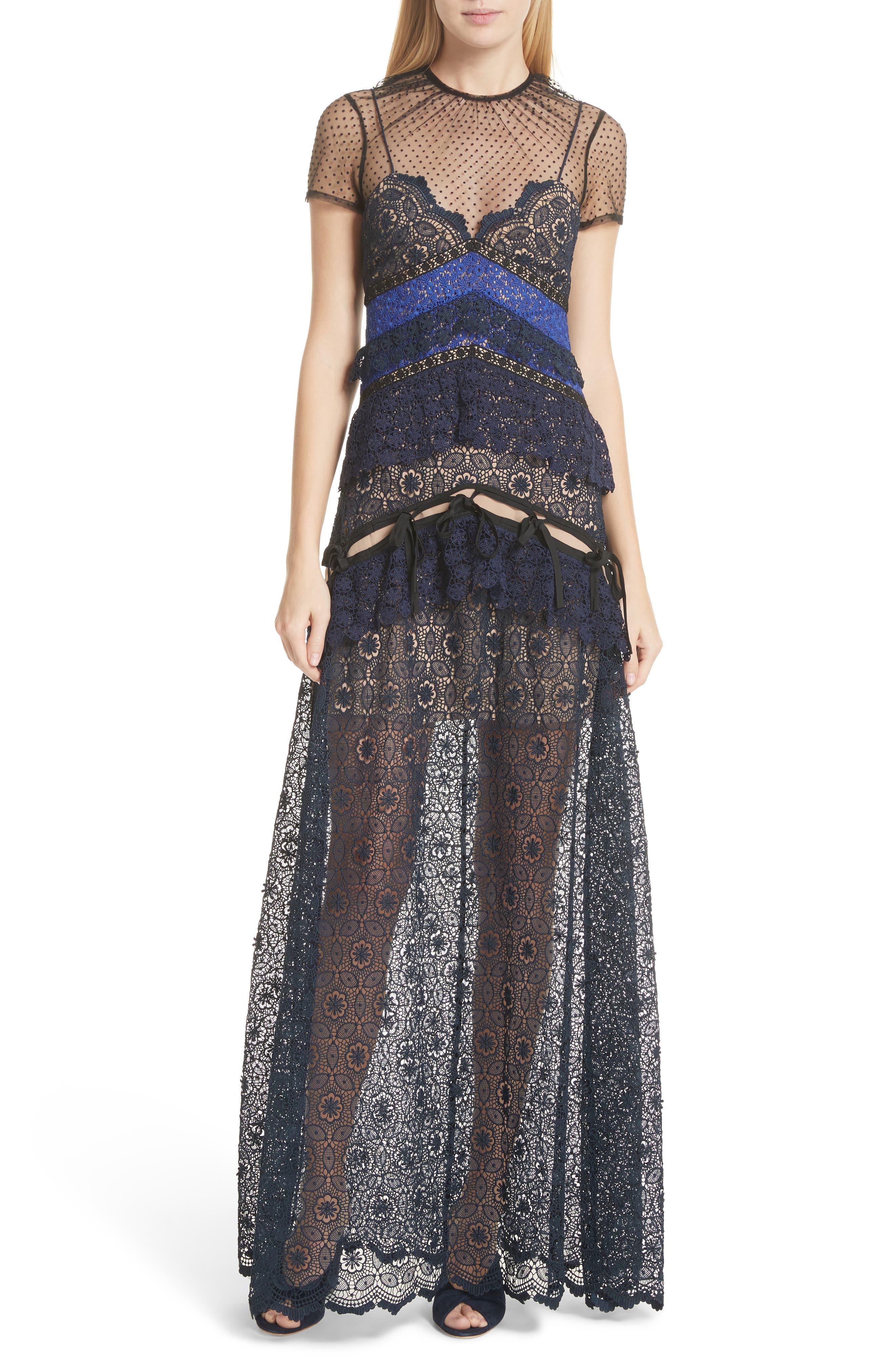 Paneled Lace Maxi Dress,                         Main,                         color, Navy