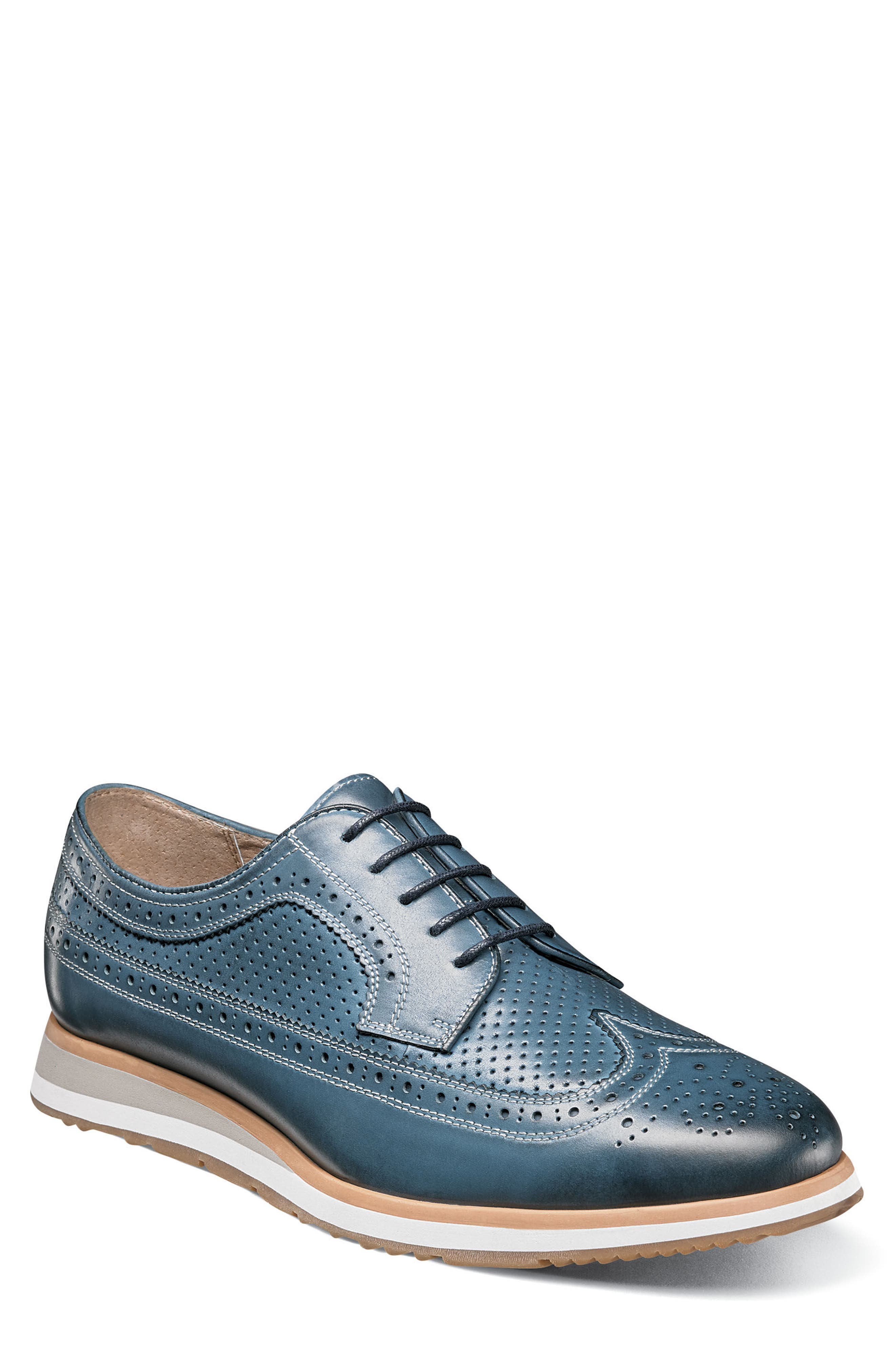 Limited Flux Perforated Wingtip Derby,                         Main,                         color, Indigo Leather