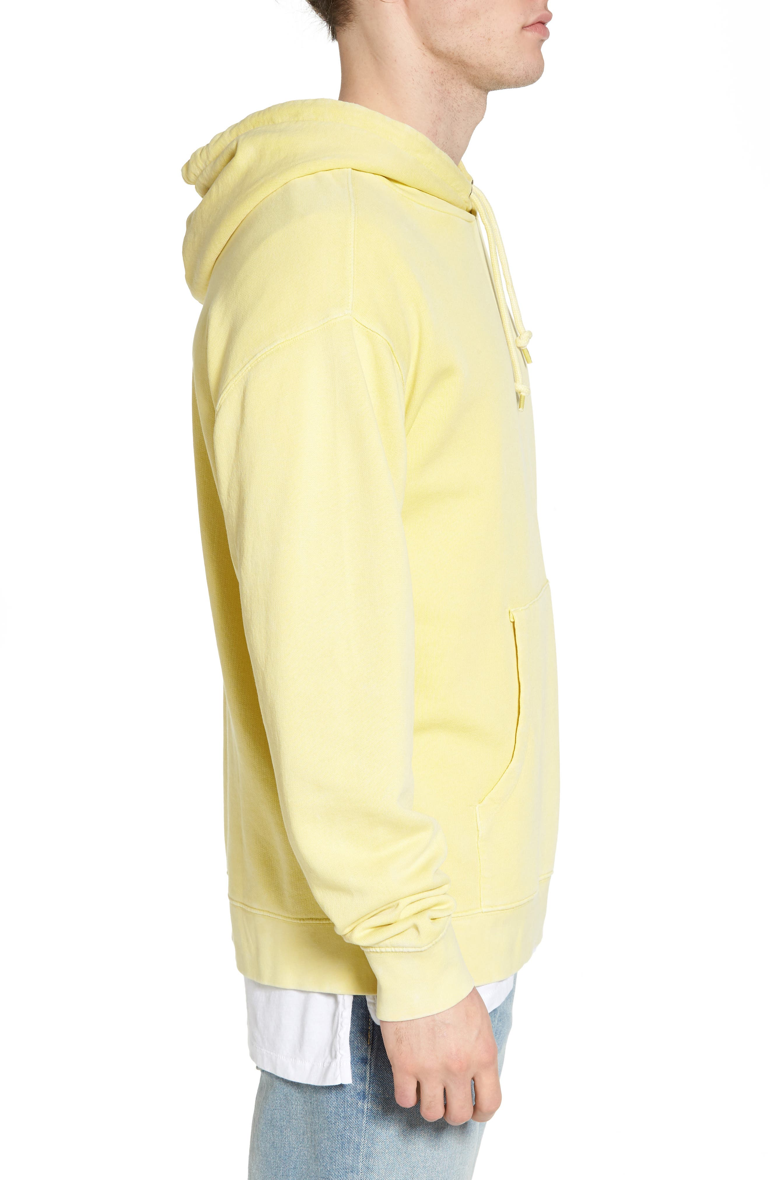 Faded Pigment Dyed Hoodie Sweatshirt,                             Alternate thumbnail 3, color,                             Yellow