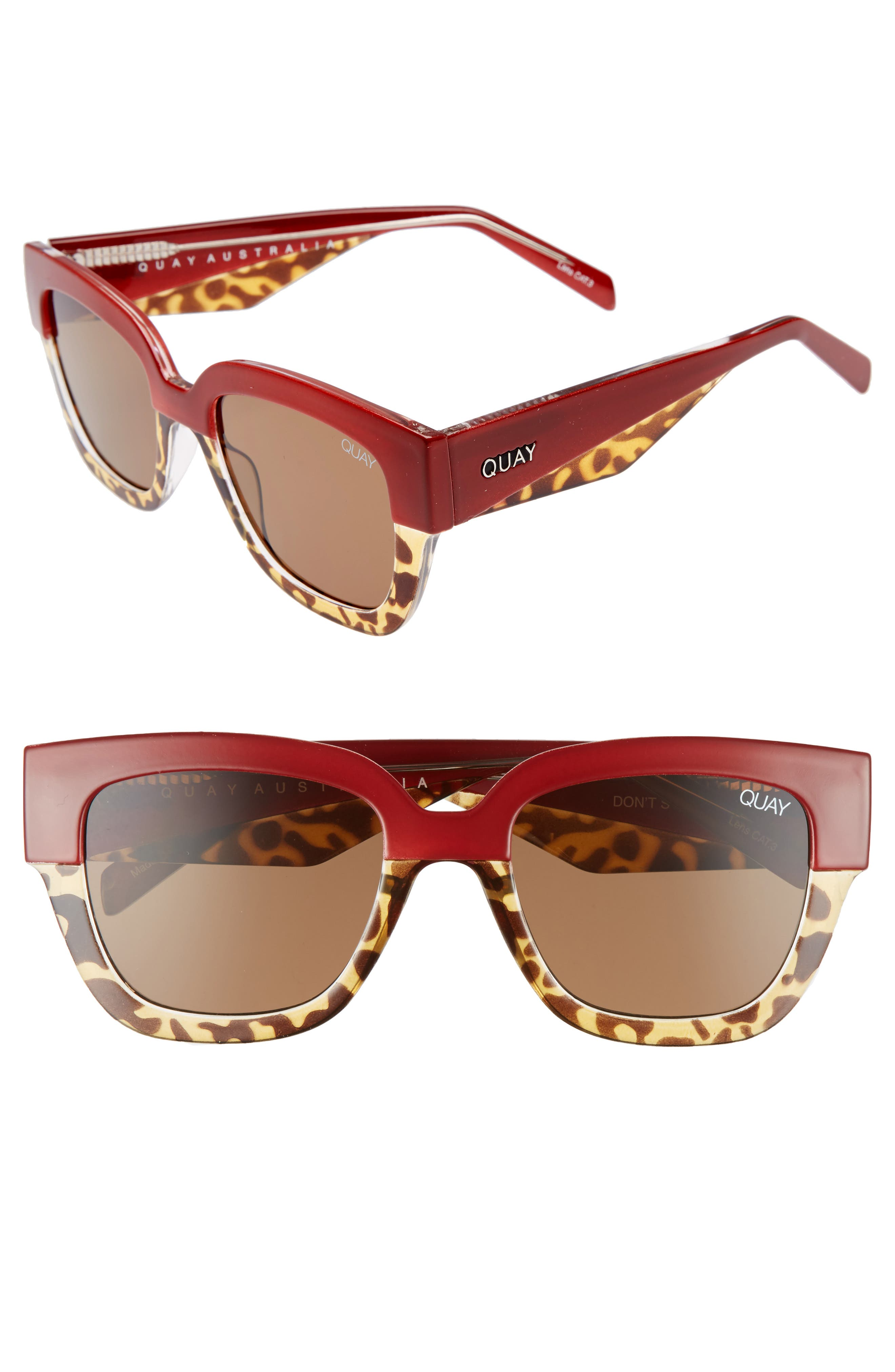 55mm Don't Stop Sunglasses,                             Main thumbnail 1, color,                             Red/ Tort/ Brown