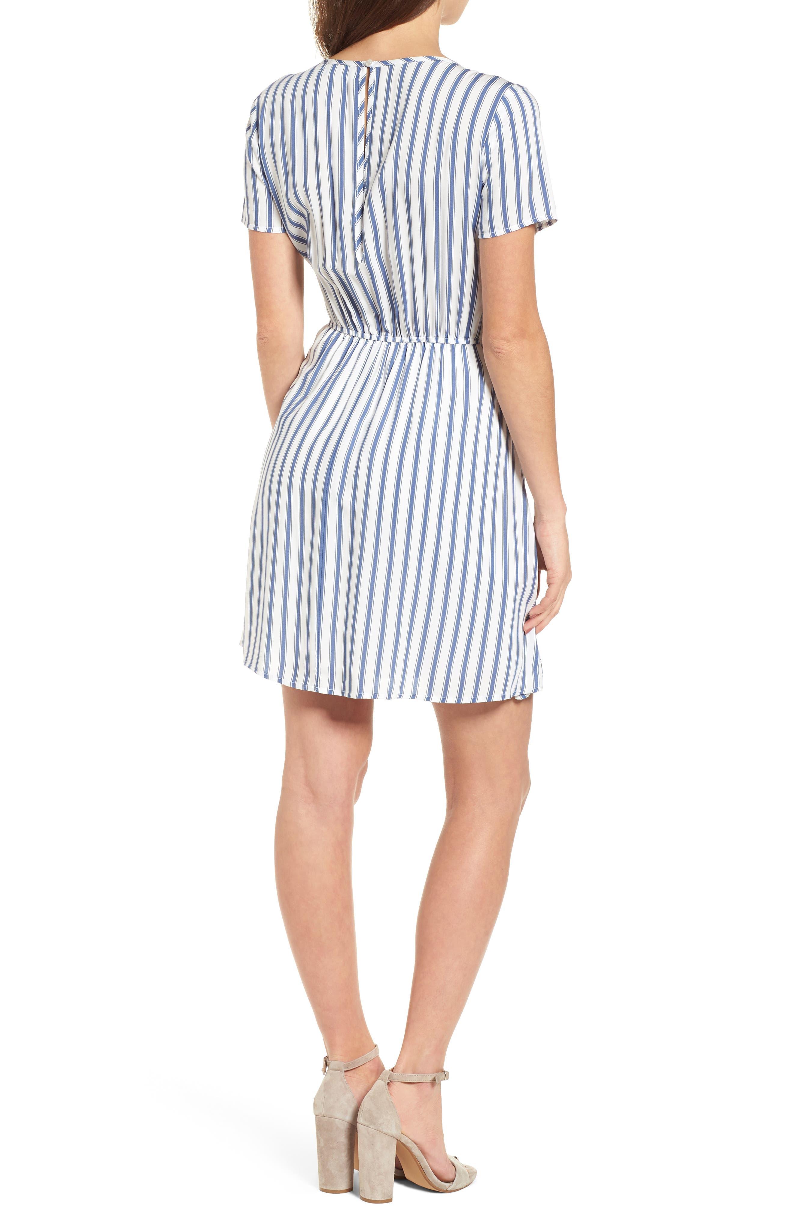 Cinch Front Minidress,                             Alternate thumbnail 2, color,                             Blue/ White Stripe