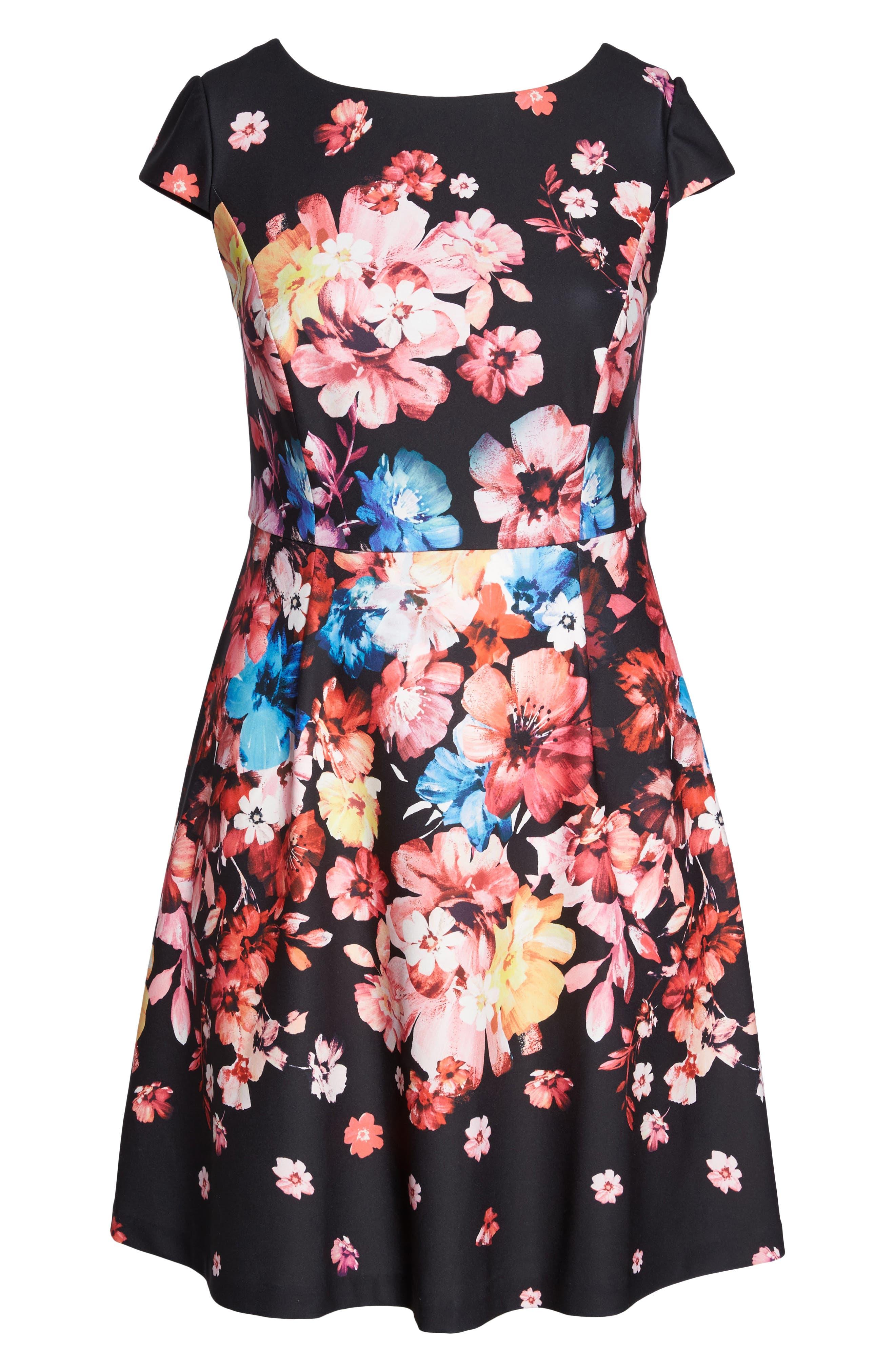Spring In Bloom Fit & Flare Dress,                             Alternate thumbnail 6, color,                             Black Multi