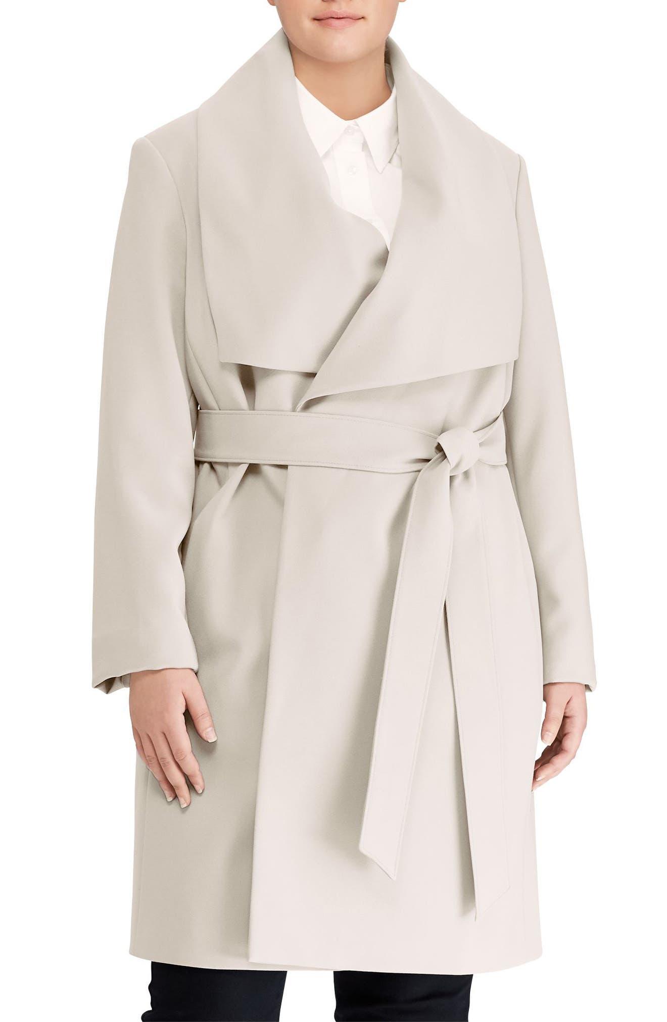 Lauren Ralph Lauren Belted Drape Front Coat (Plus Size)