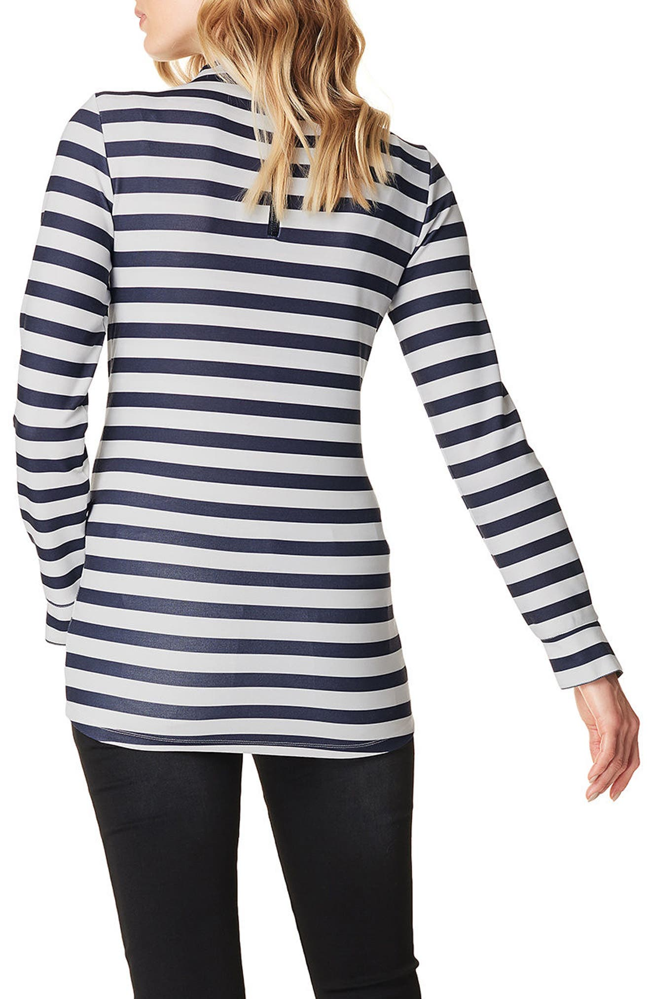 Stripe Mock Neck Maternity Top,                             Alternate thumbnail 2, color,                             Black Stripe