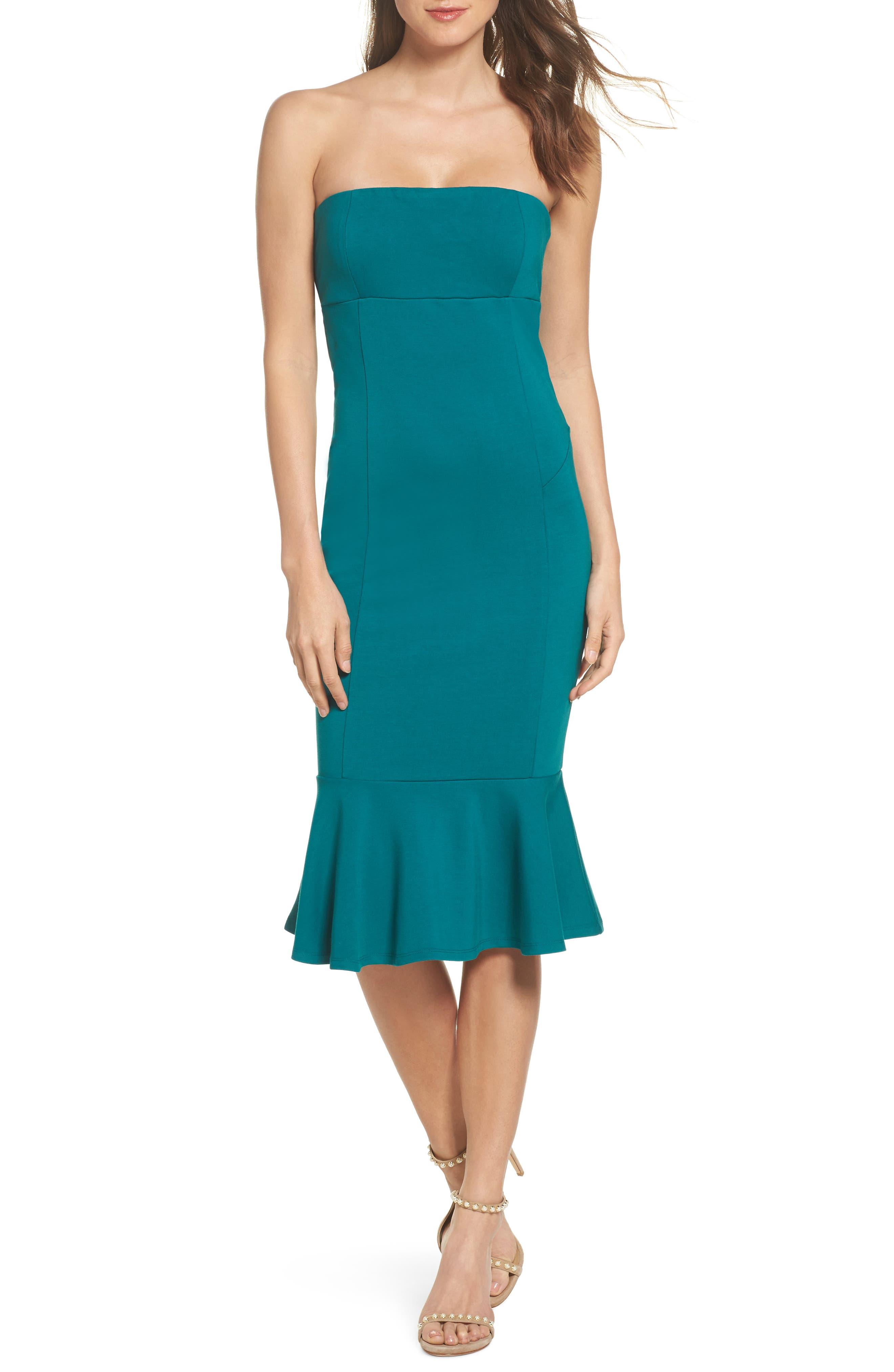 Zabrina Strapless Dress,                         Main,                         color, Jade