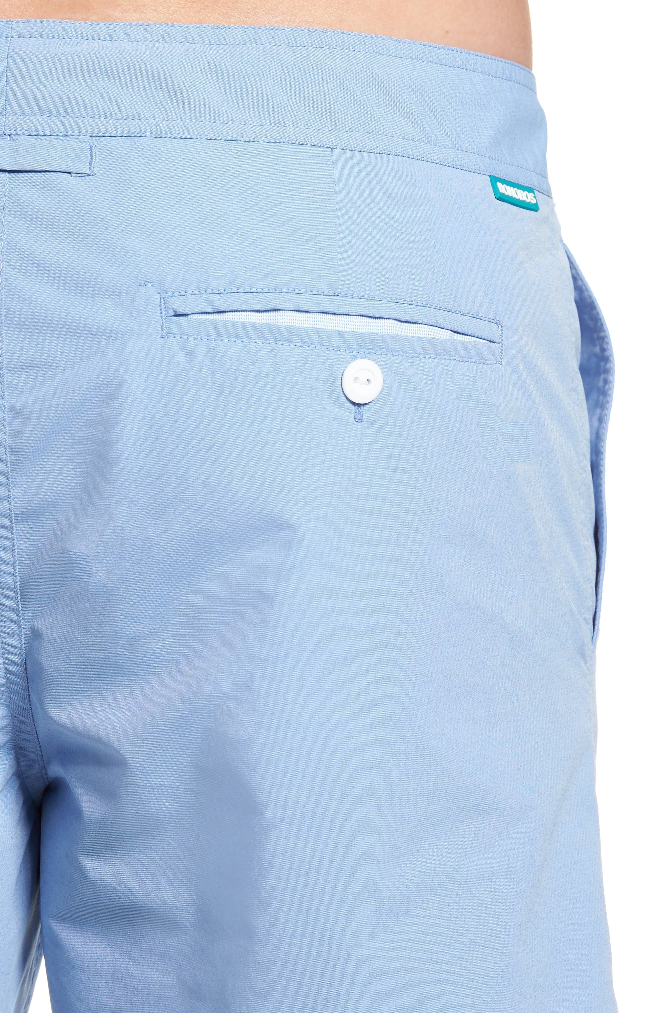 Solid 7-Inch Swim Trunks,                             Alternate thumbnail 4, color,                             Blue Chambray