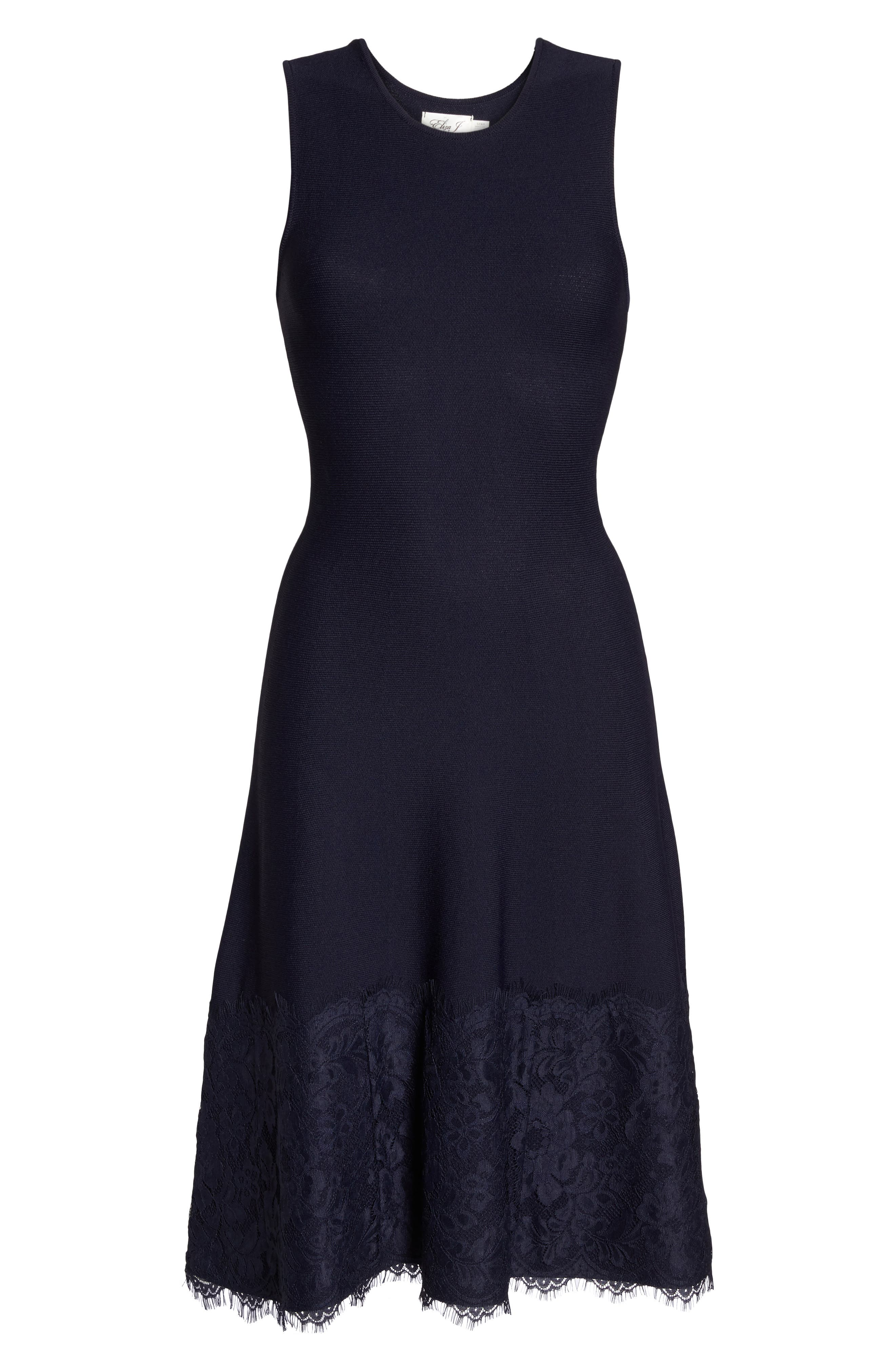 Lace Hem Fit & Flare Dress,                             Alternate thumbnail 6, color,                             Navy
