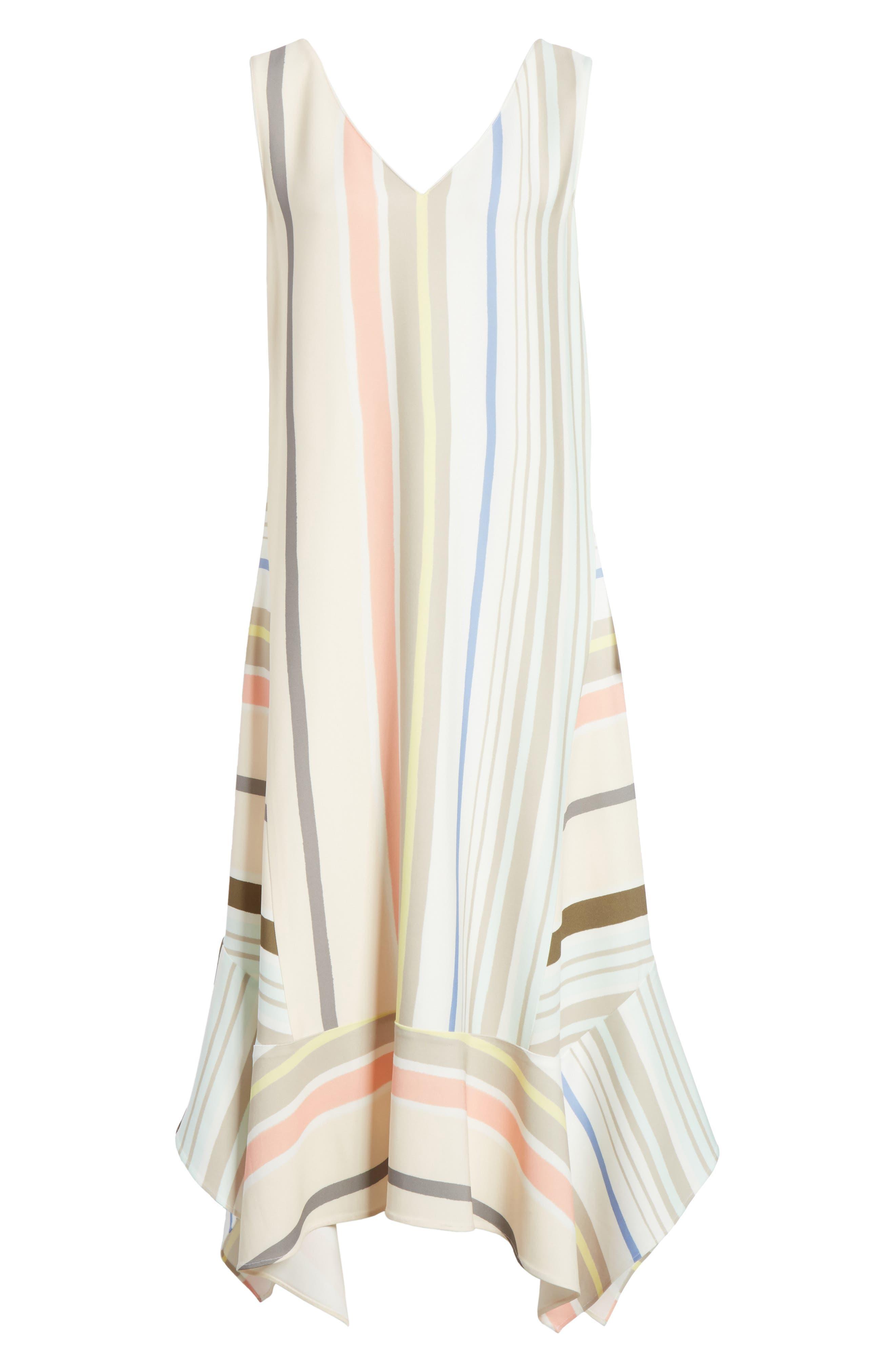 Mesa Stripe Midi Dress,                             Alternate thumbnail 7, color,                             Khaki Multi