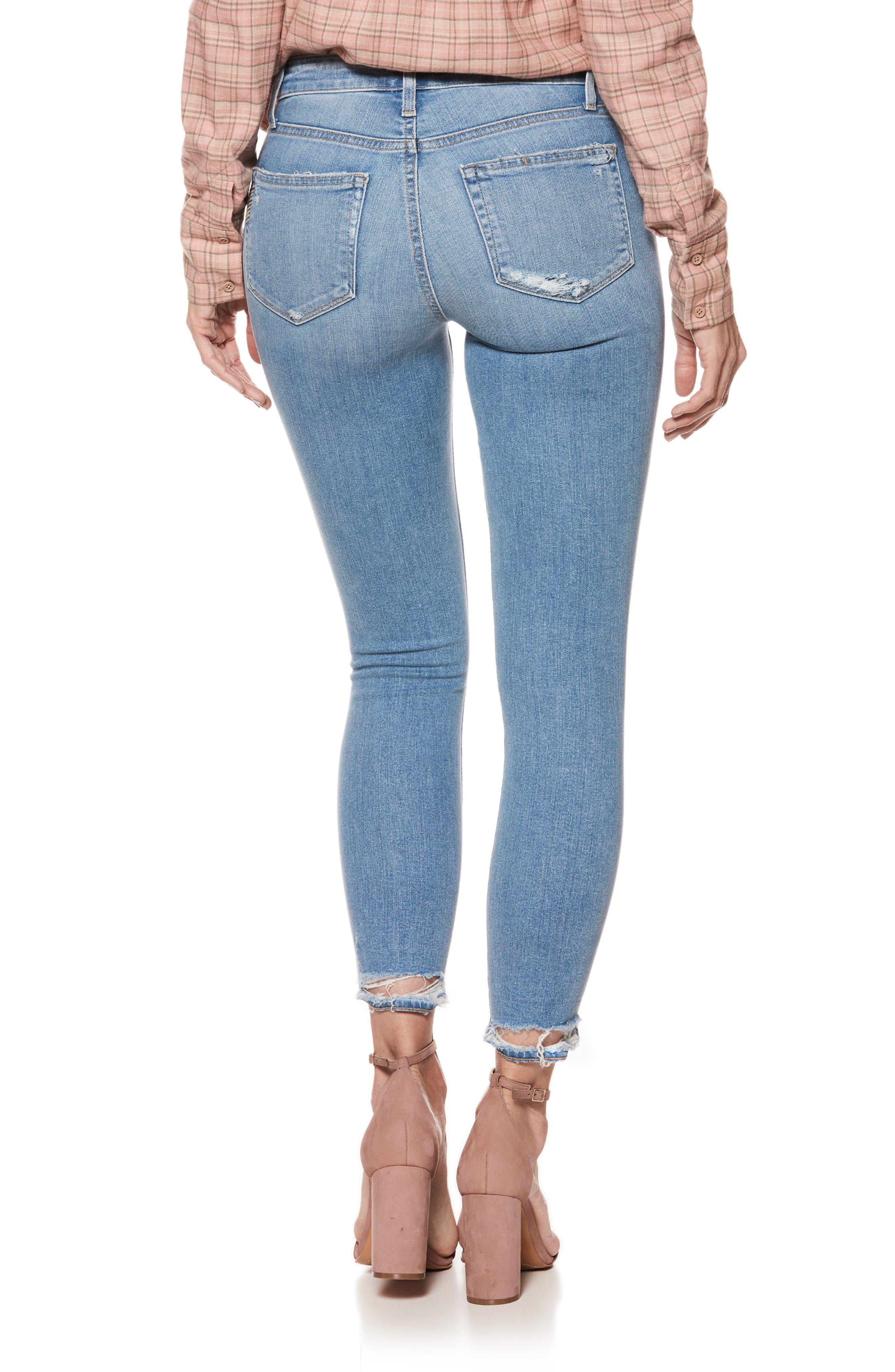 Hoxton High Waist Crop Skinny Jeans,                             Alternate thumbnail 3, color,                             Atterbury W/ Torn Back Hem