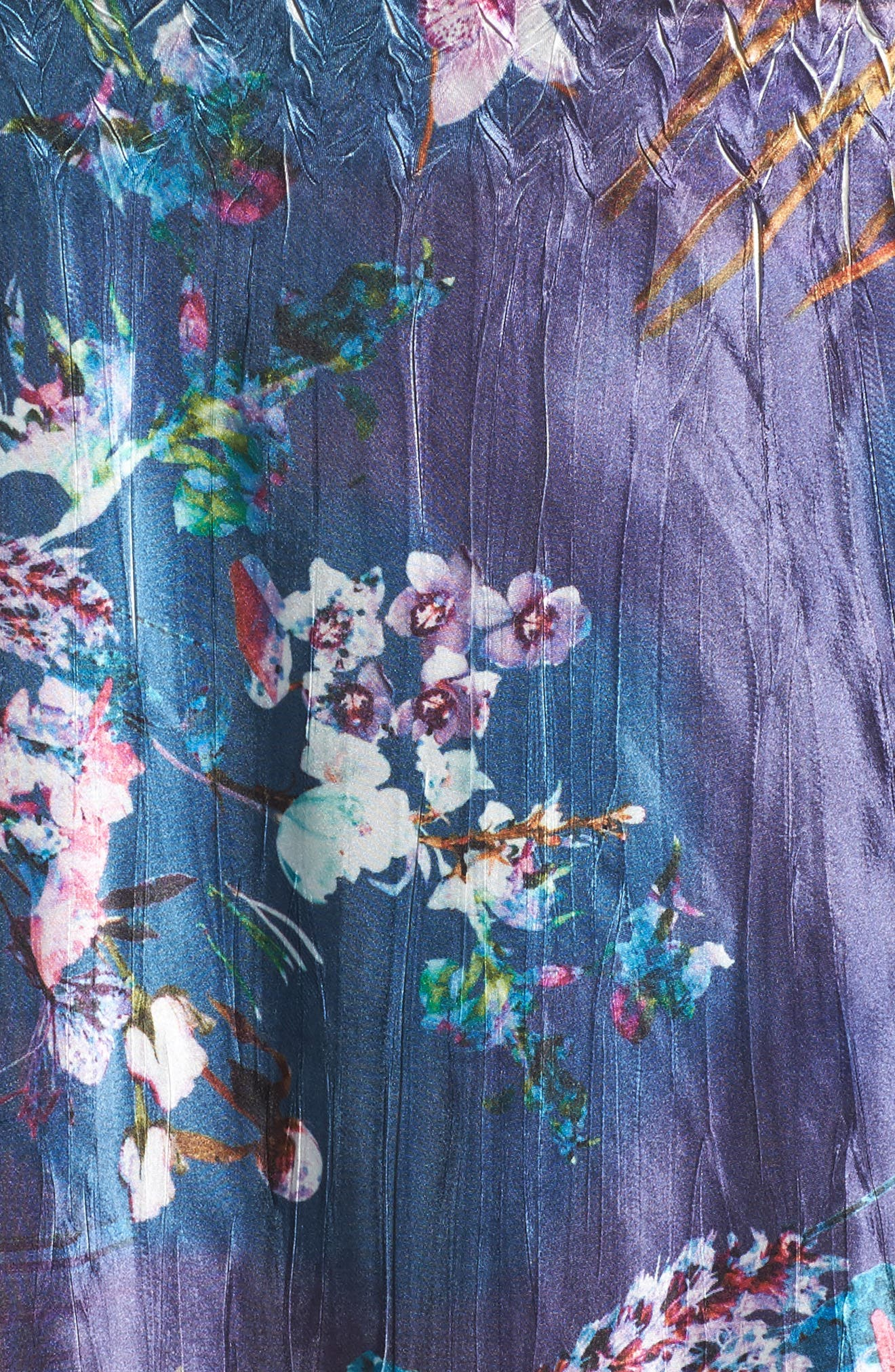 Kamarov Floral Charmeuse & Chiffon Dress,                             Alternate thumbnail 6, color,                             Pixel Meadow