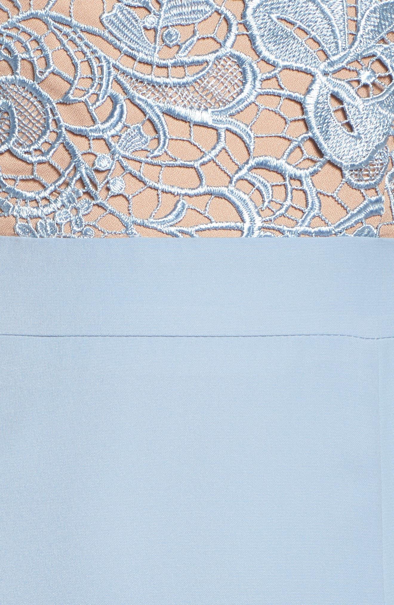 Caden Lace Detail Trumpet Gown,                             Alternate thumbnail 5, color,                             Light Blue