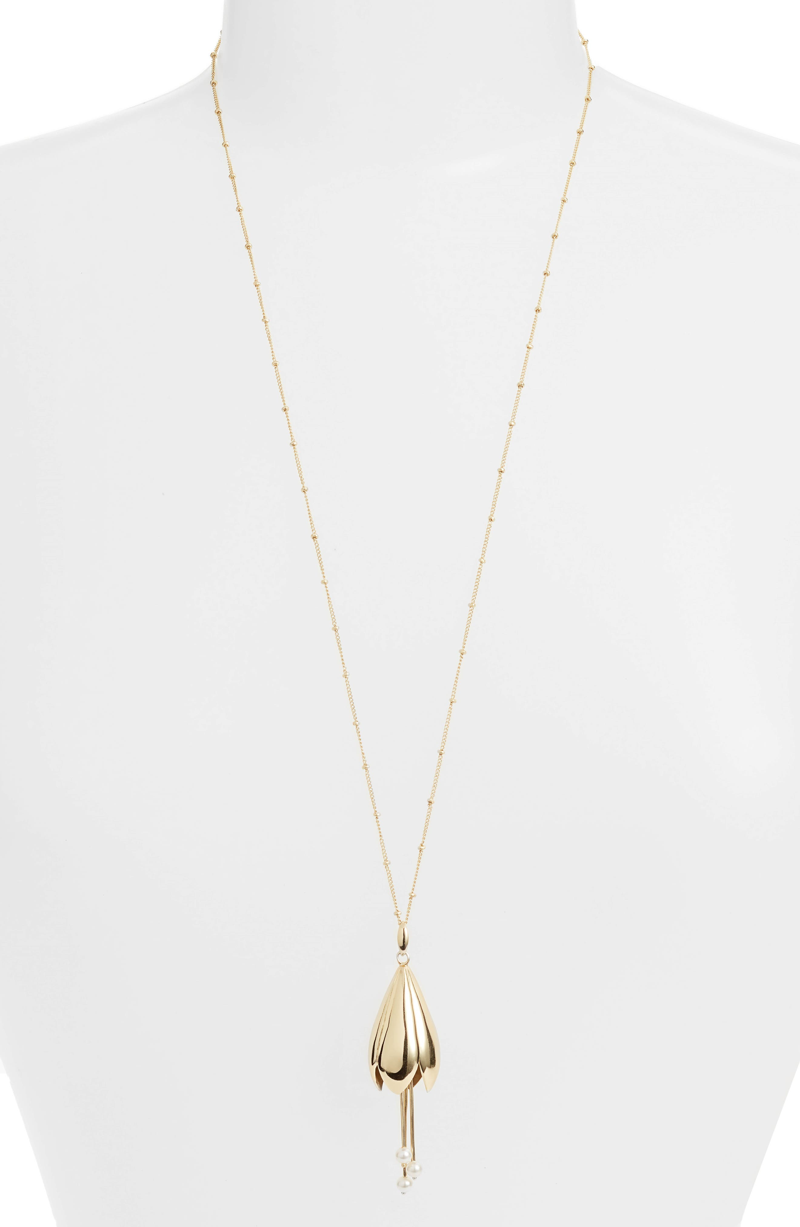 Imitation Pearl Pendant Necklace,                         Main,                         color, Gold