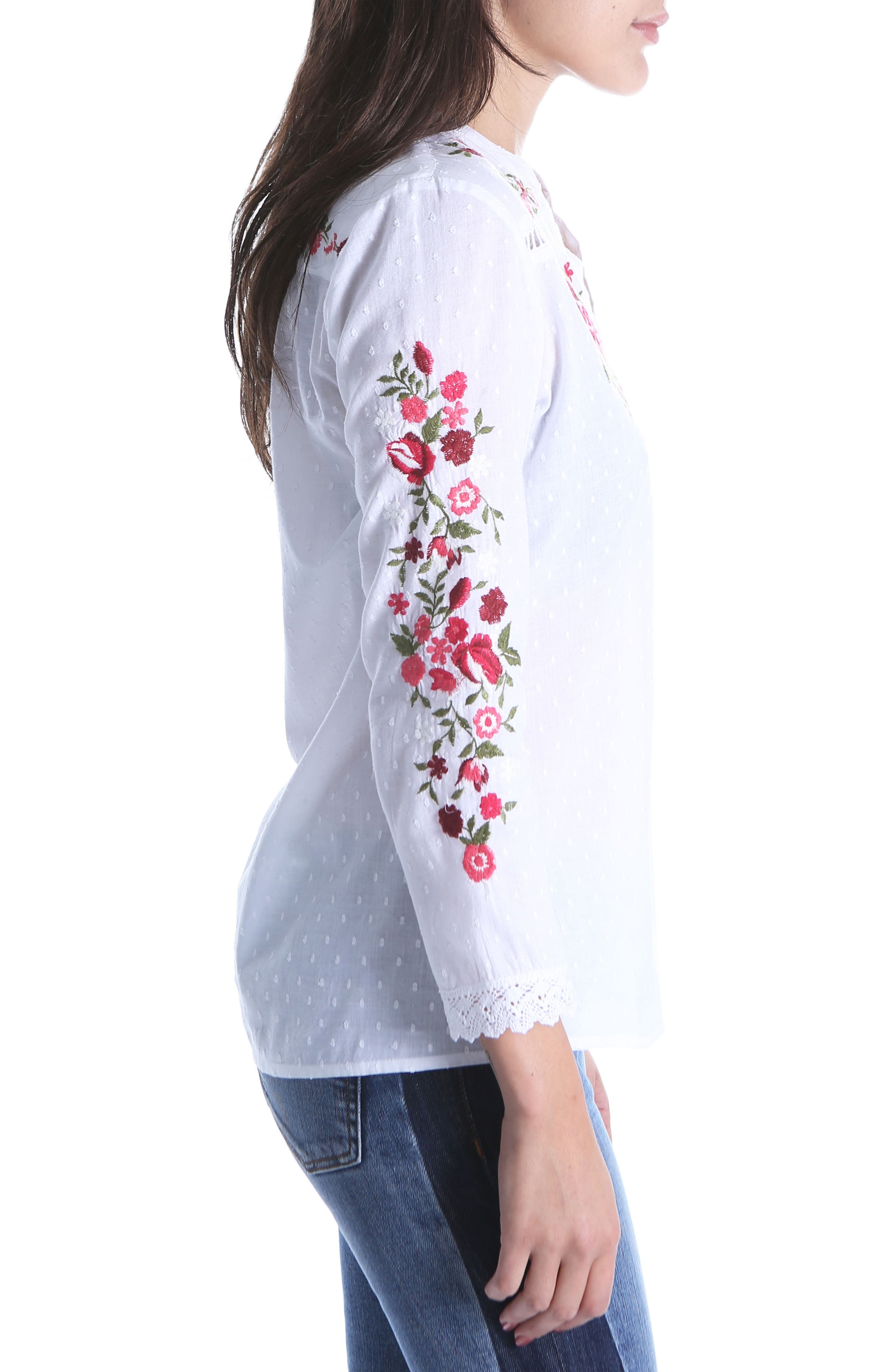 Kat Embroidered Lace Detail Blouse,                             Alternate thumbnail 3, color,                             White