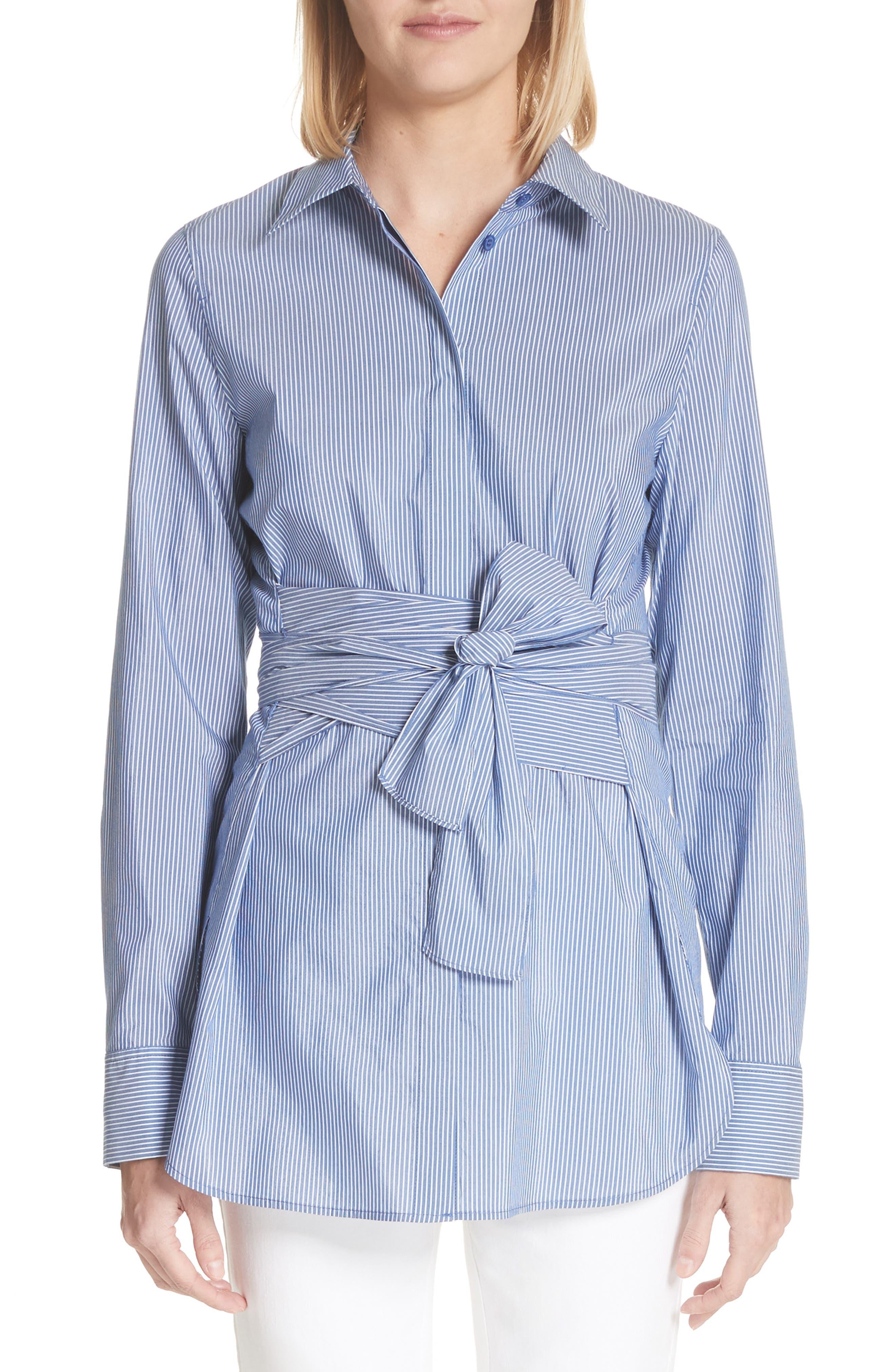 Cordelia Tie Waist Blouse,                             Main thumbnail 1, color,                             Delft Multi