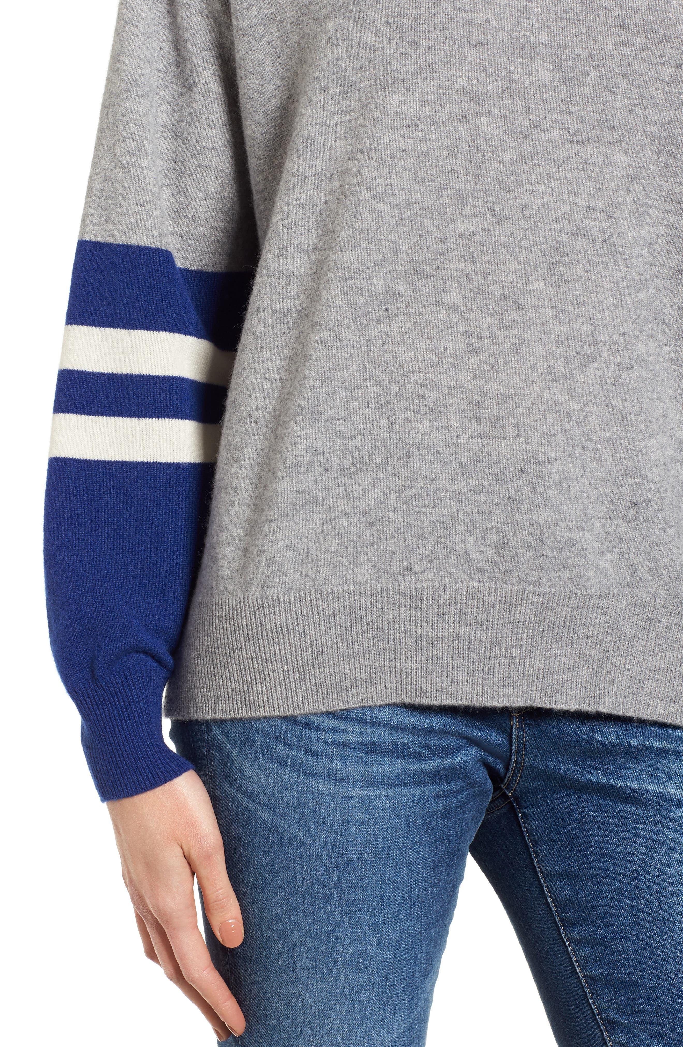 Colorblock Cashmere Sweater,                             Alternate thumbnail 4, color,                             Heather Grey