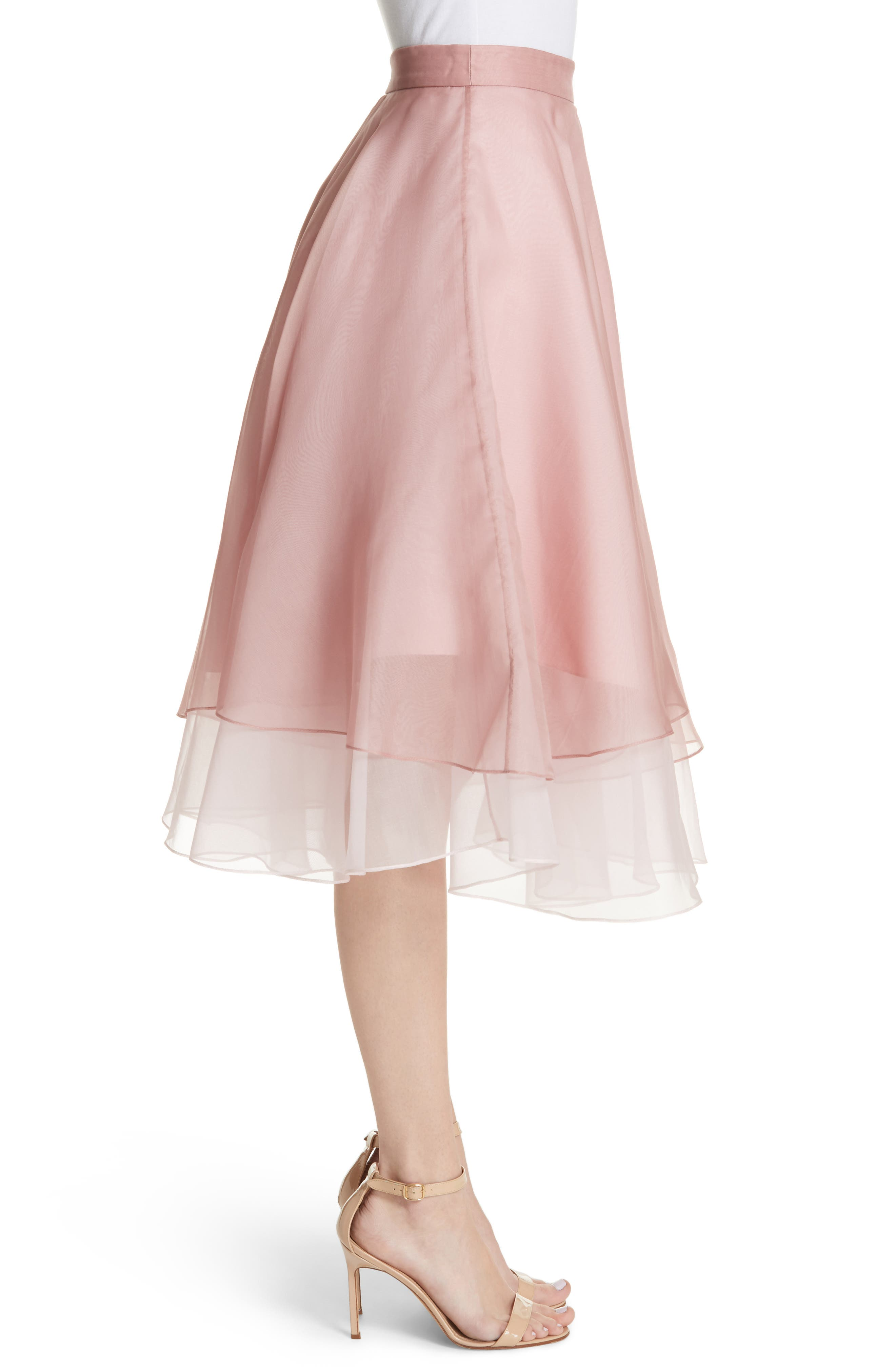 Layered Organza A-Line Skirt,                             Alternate thumbnail 3, color,                             Nude/ Petal