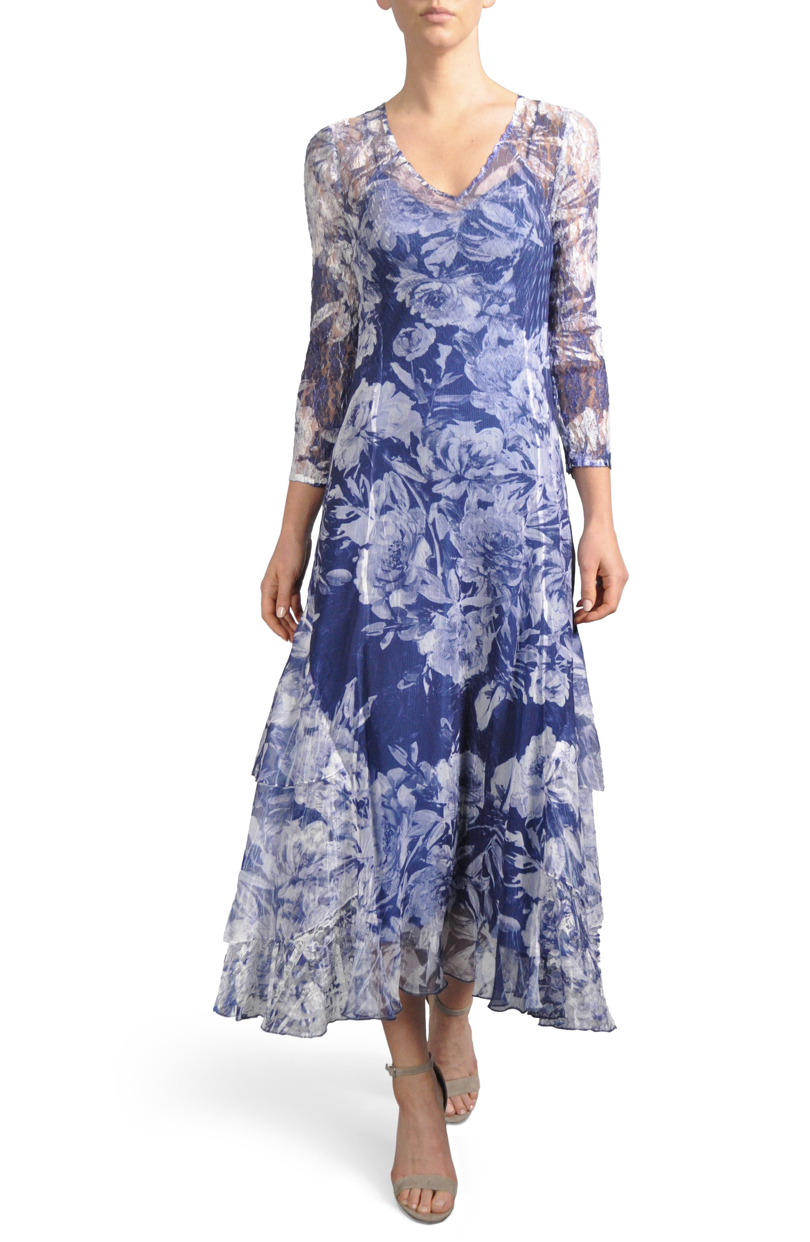 Floral Charmeuse & Chiffon A-Line Dress,                             Main thumbnail 1, color,                             Indigo Fields