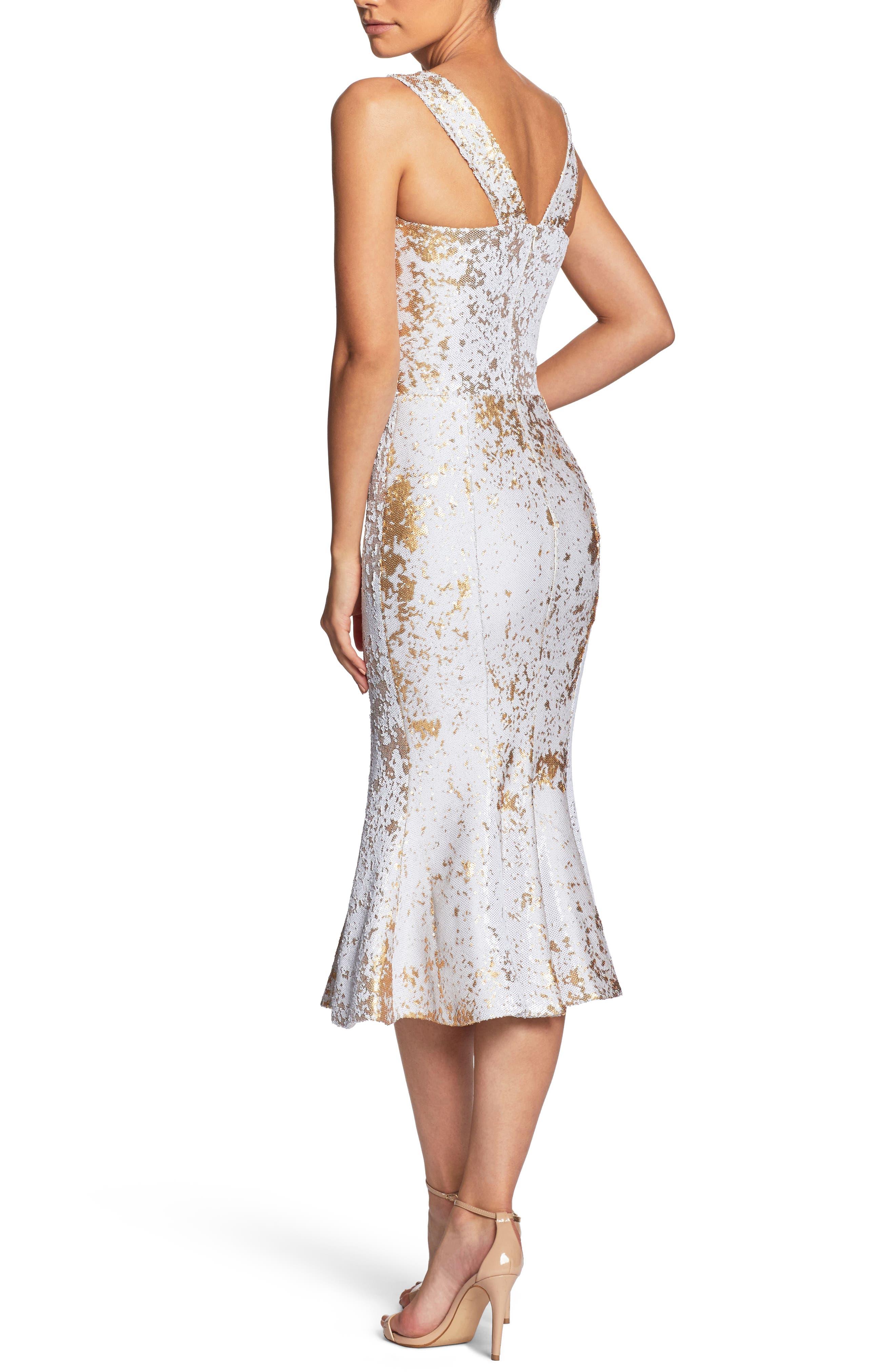Fiona Sequin Trumpet Dress,                             Alternate thumbnail 3, color,                             White/ Gold