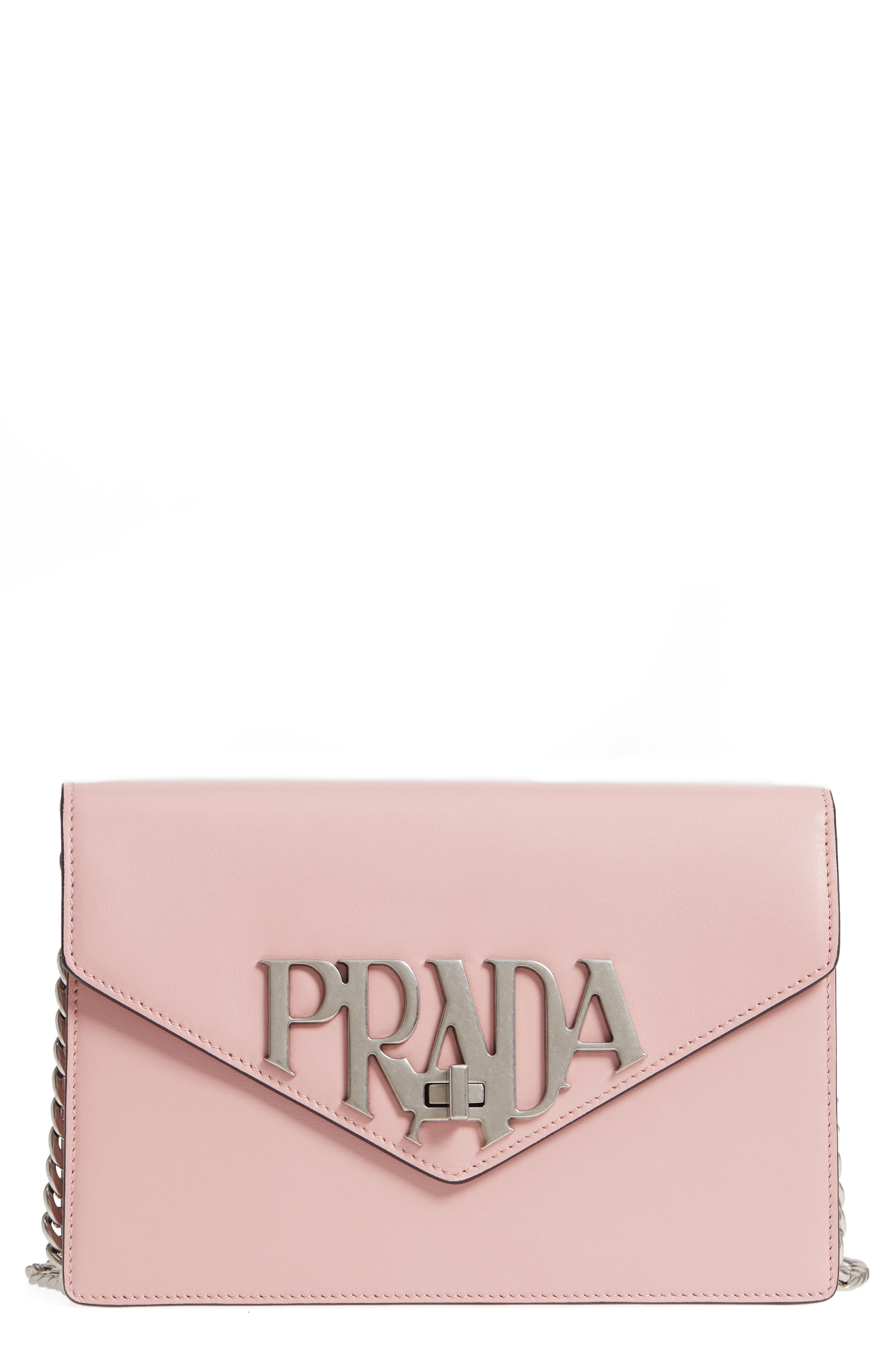 Main Image - Prada Deco Flap Calfskin Leather Clutch