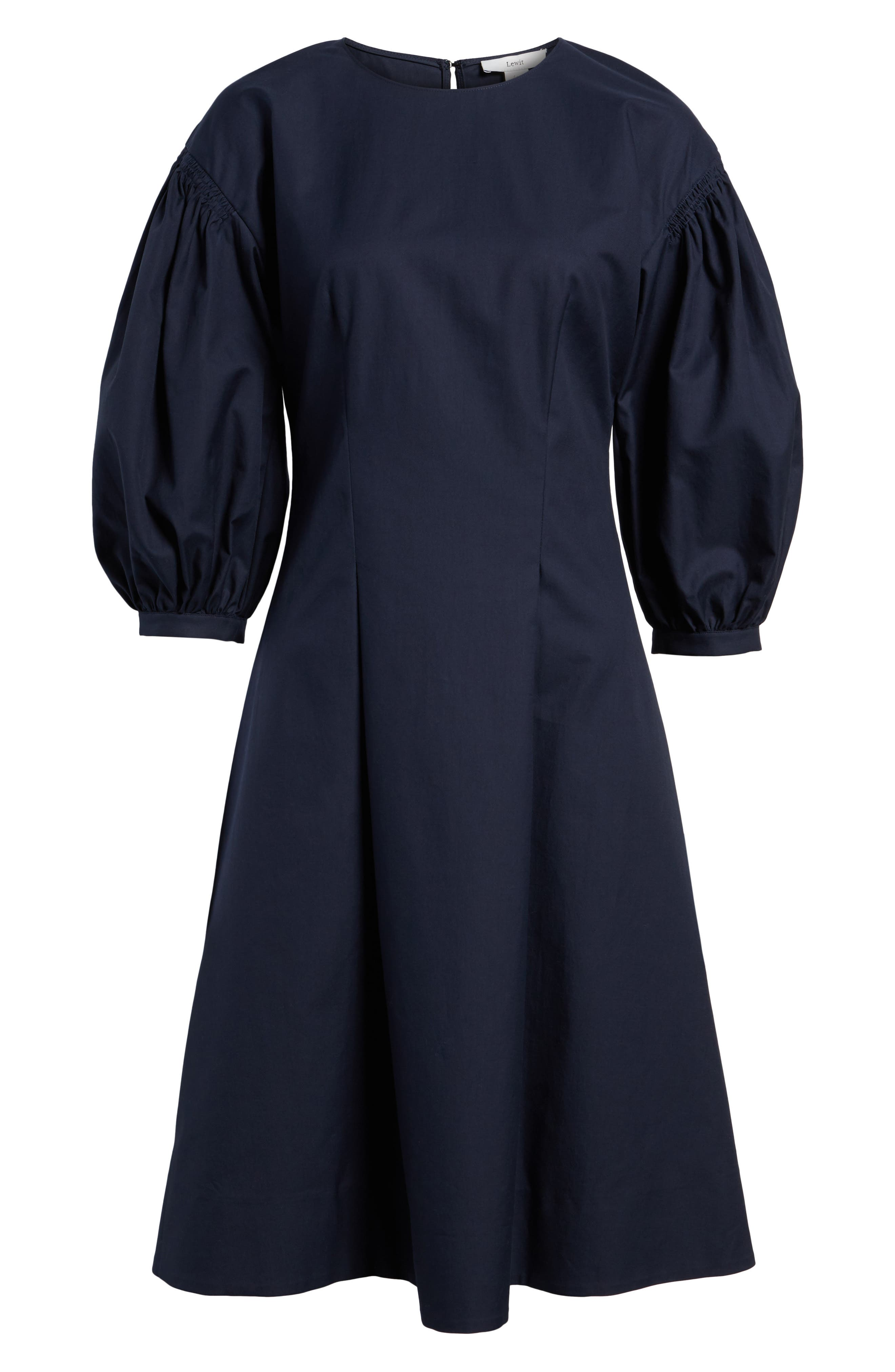 Blouson Sleeve A-Line Twill Dress,                             Alternate thumbnail 6, color,                             Navy Night