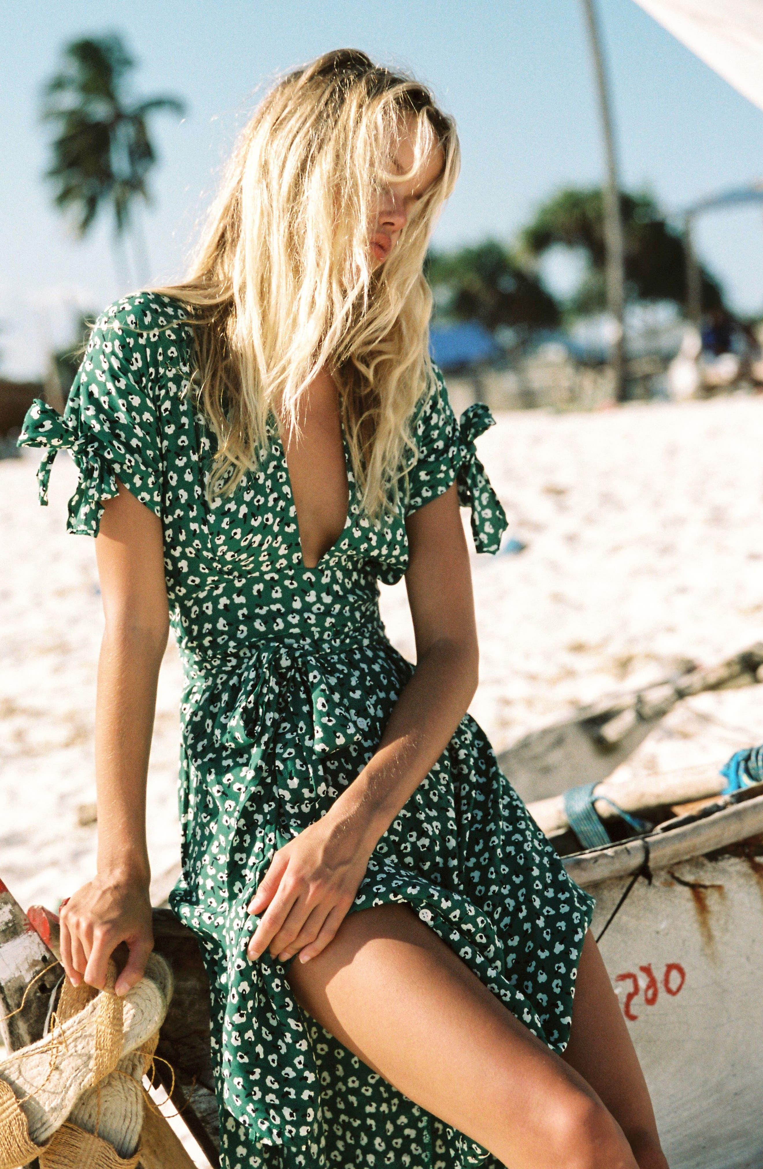 Nina Tie Detail Midi Dress,                             Alternate thumbnail 2, color,                             Vintage Bloom Print - Green