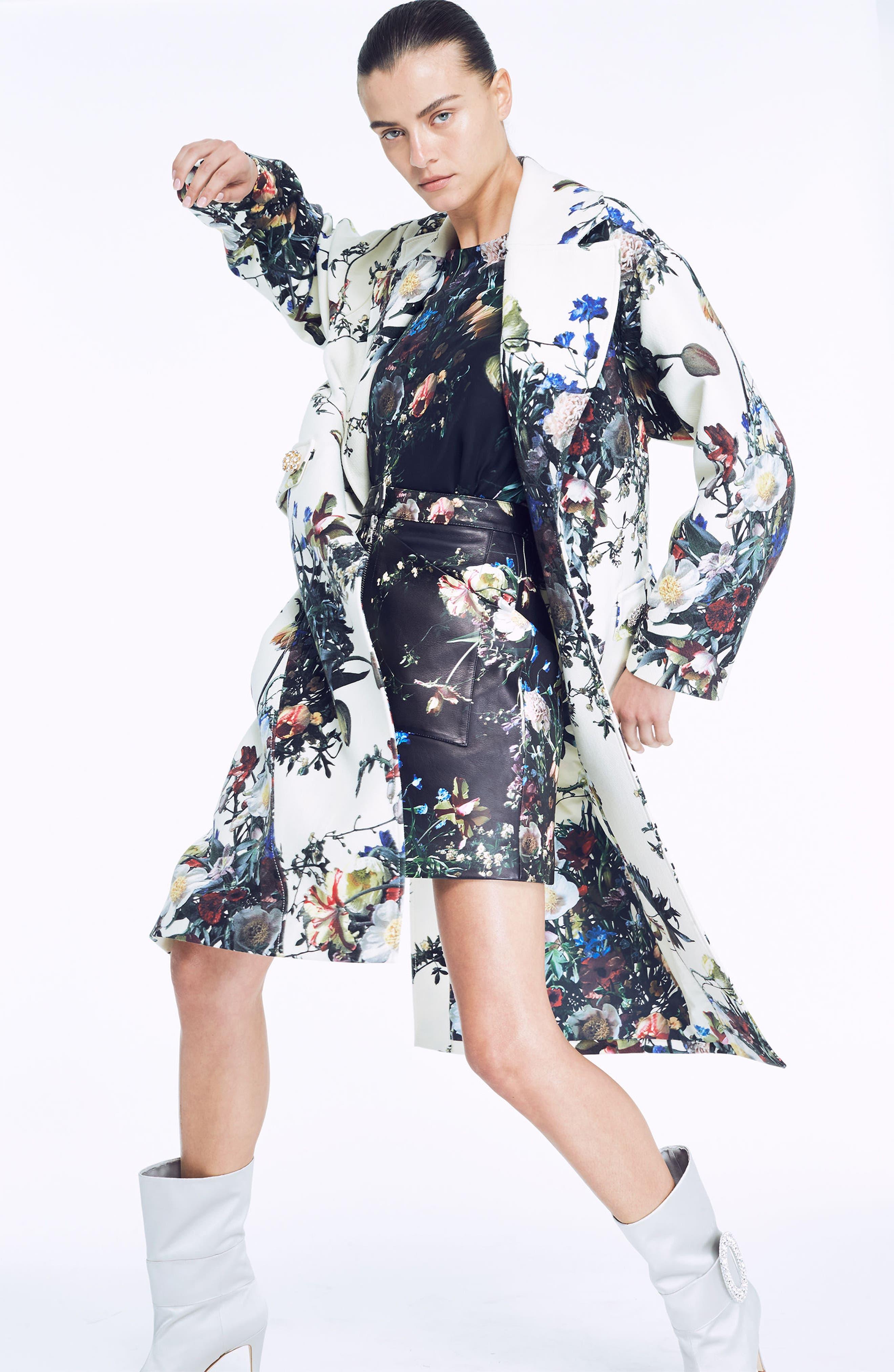 Floral Print Leather Miniskirt,                             Alternate thumbnail 2, color,                             Black