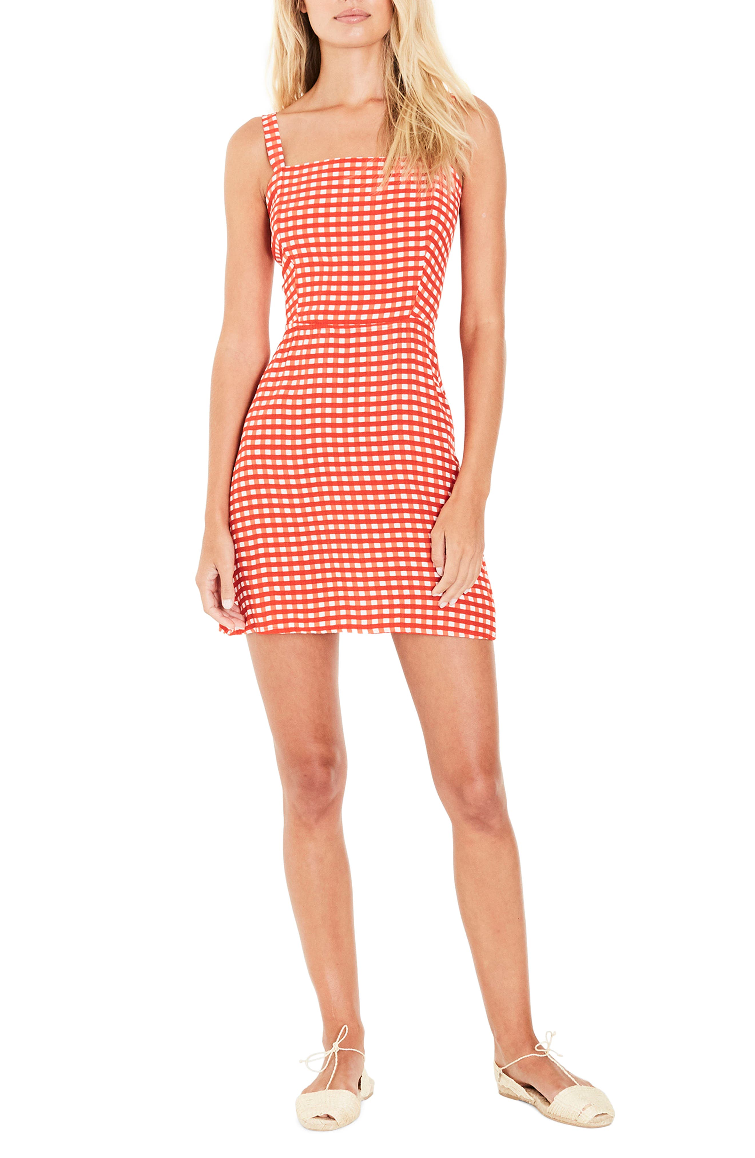 Ischia Gingham Tie Back Dress,                         Main,                         color, Kivotos Print