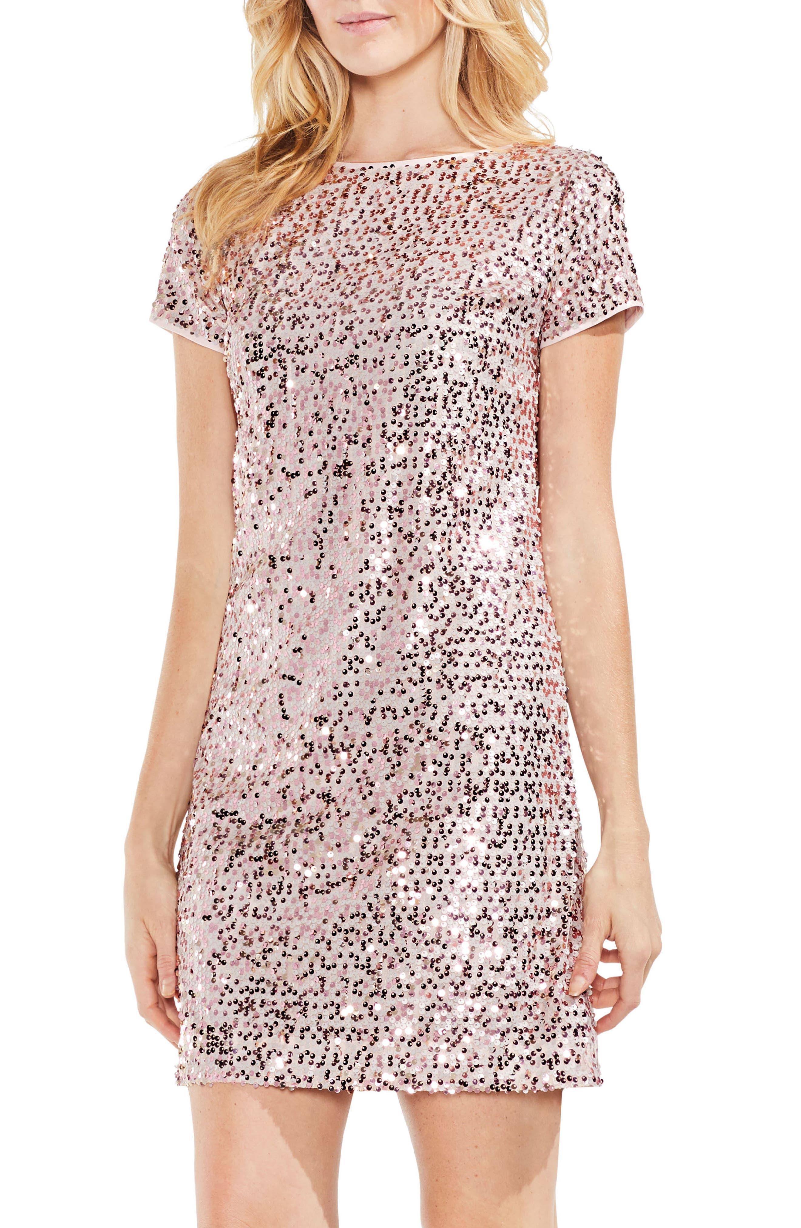 Paillette Sequin Minidress,                         Main,                         color, Wild Rose