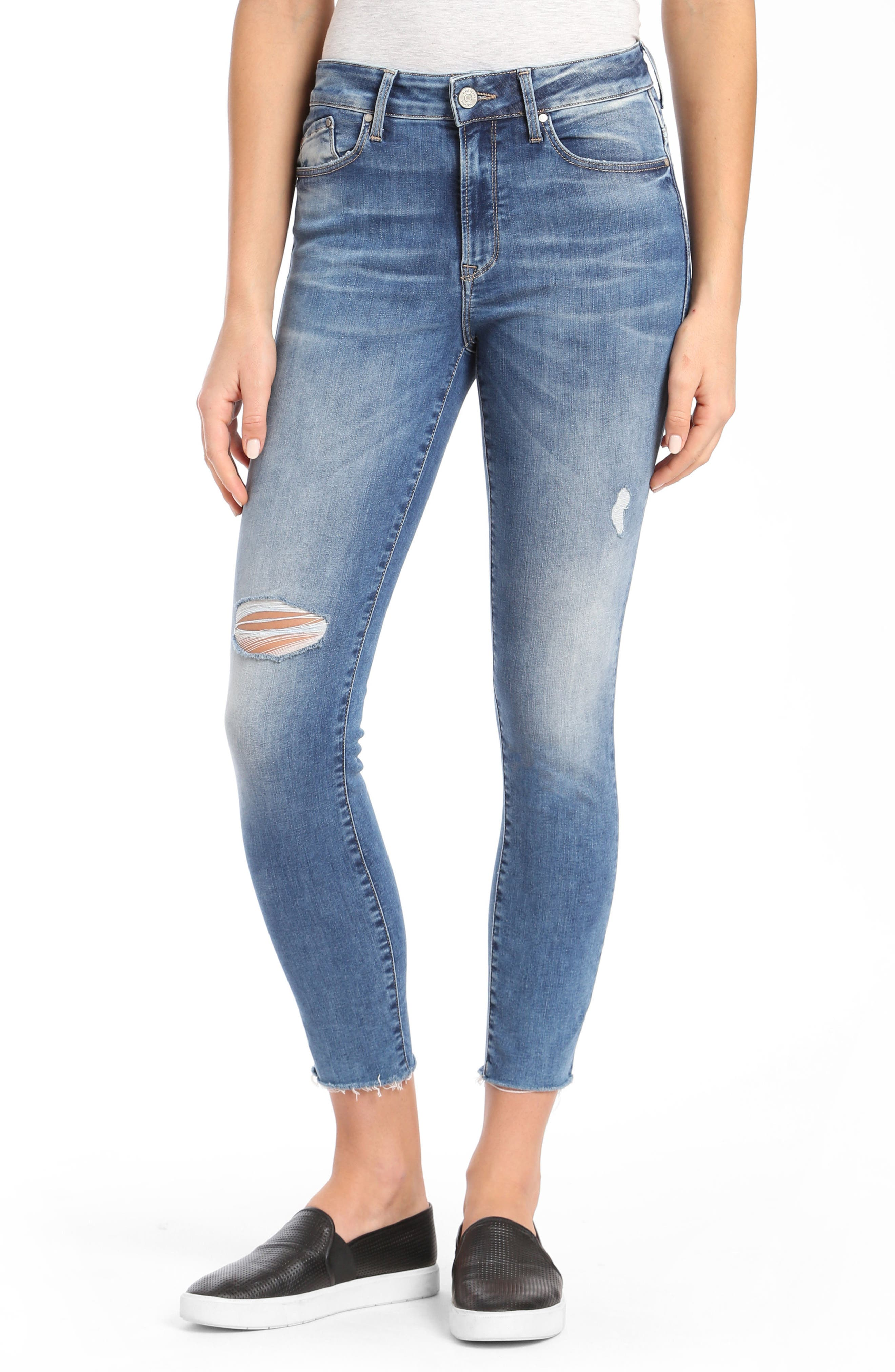 Mavi Jeans Alissa Ripped Ankle Skinny Jeans (Shaded Random Nolita)