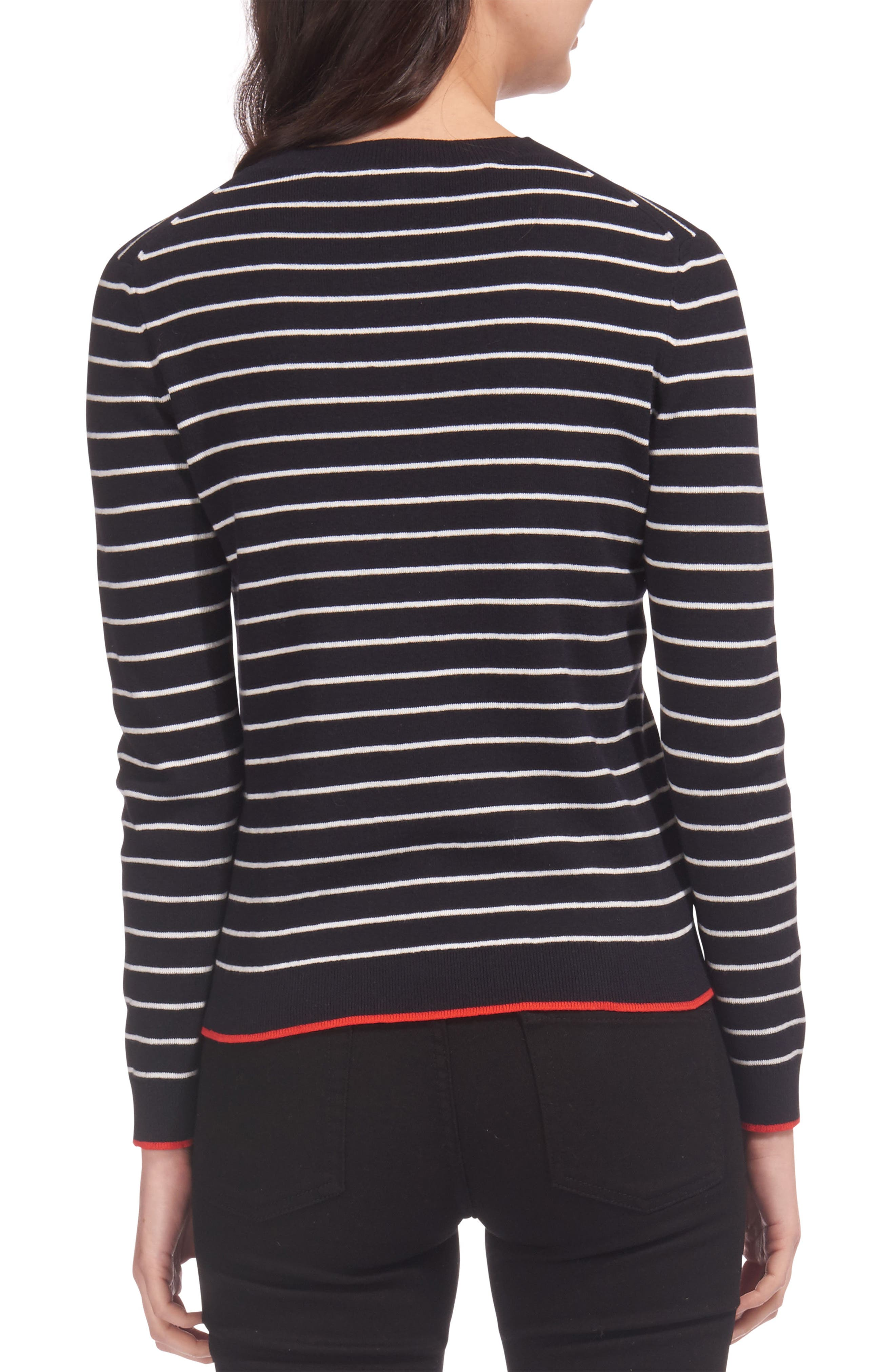 Kiss Embroidered Stripe Sweater,                             Alternate thumbnail 2, color,                             Multicolor