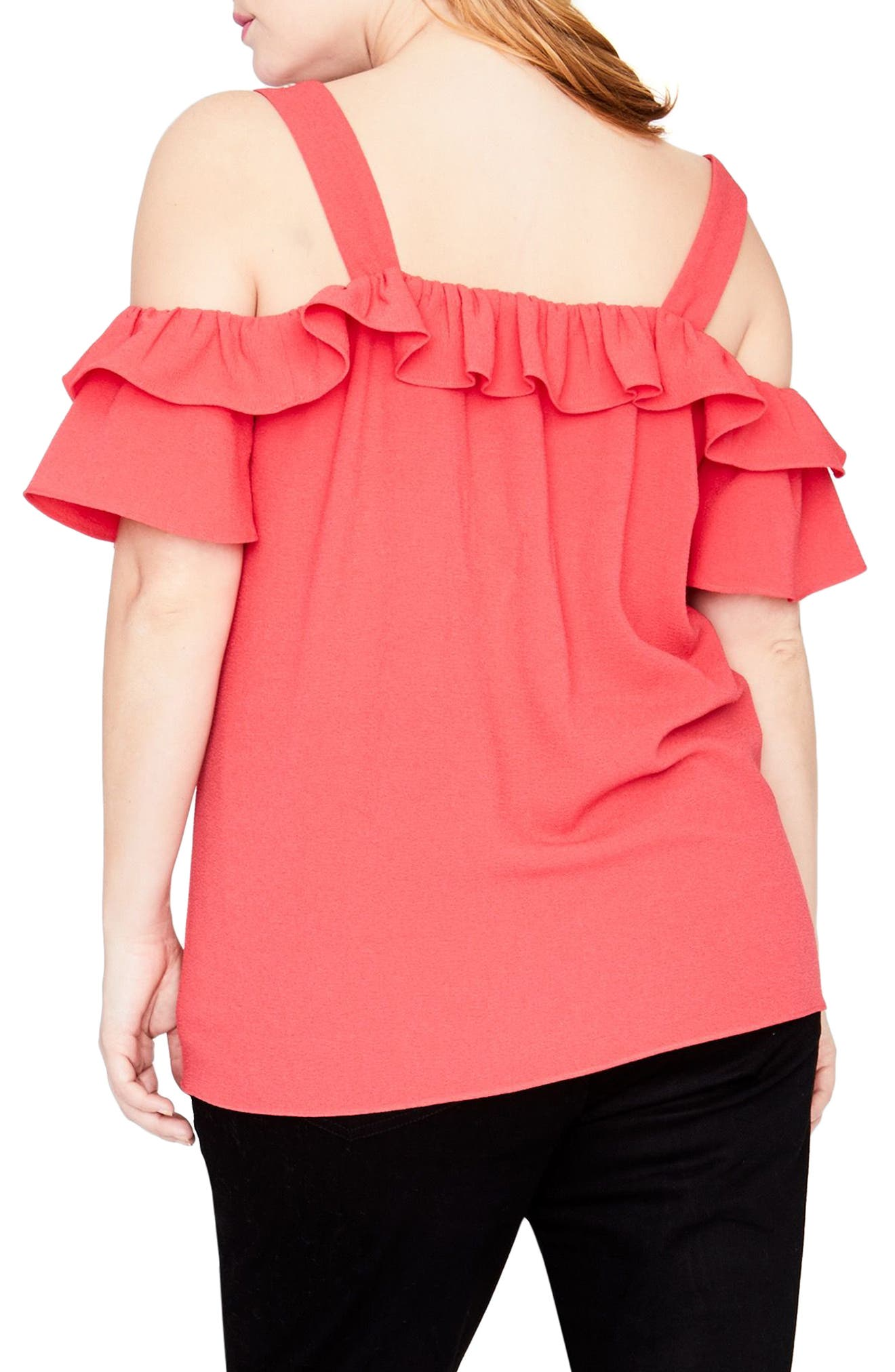 Alternate Image 2  - RACHEL Rachel Roy Ruffle Edge Top (Plus Size)