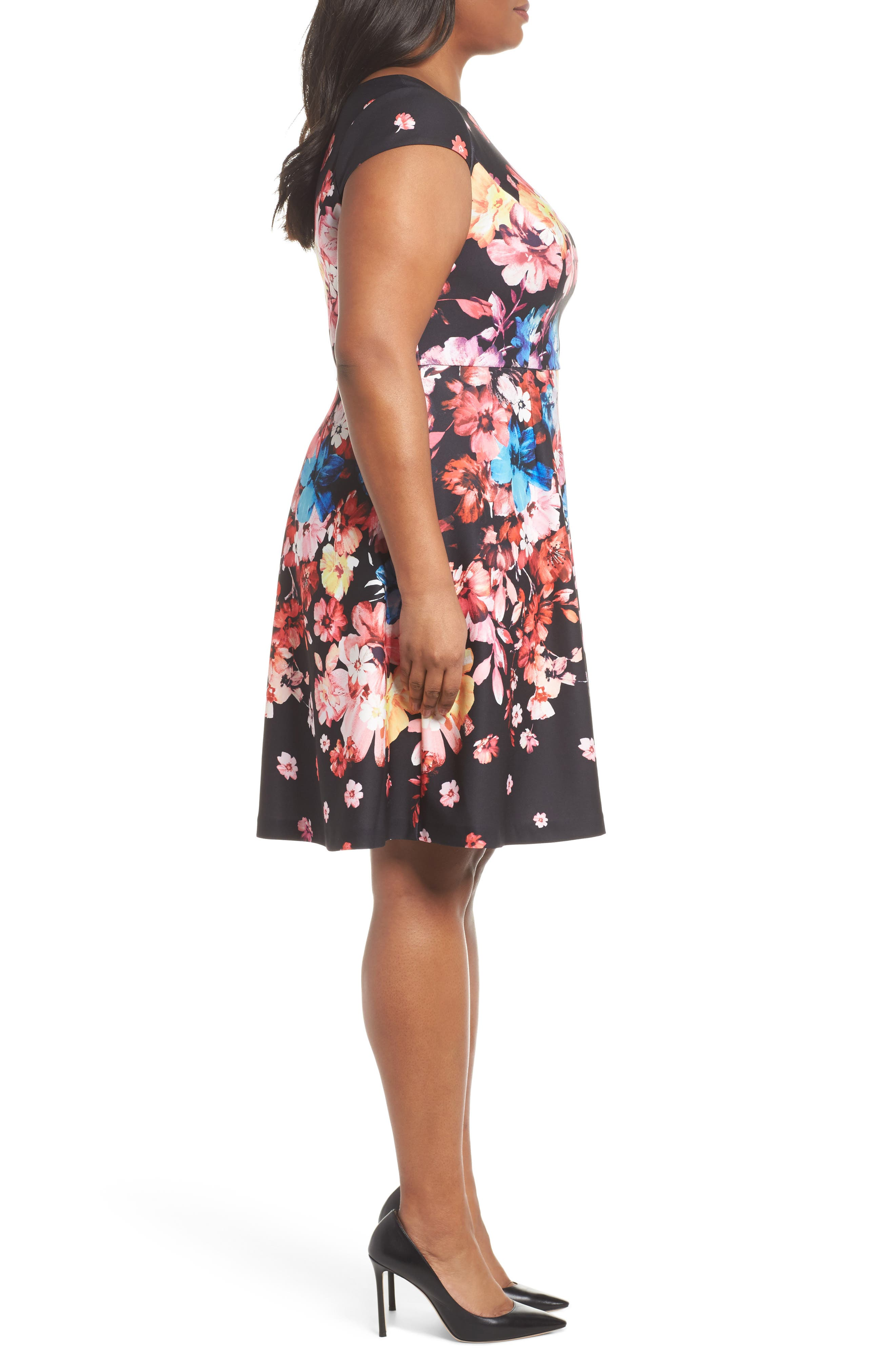 Spring In Bloom Fit & Flare Dress,                             Alternate thumbnail 3, color,                             Black Multi