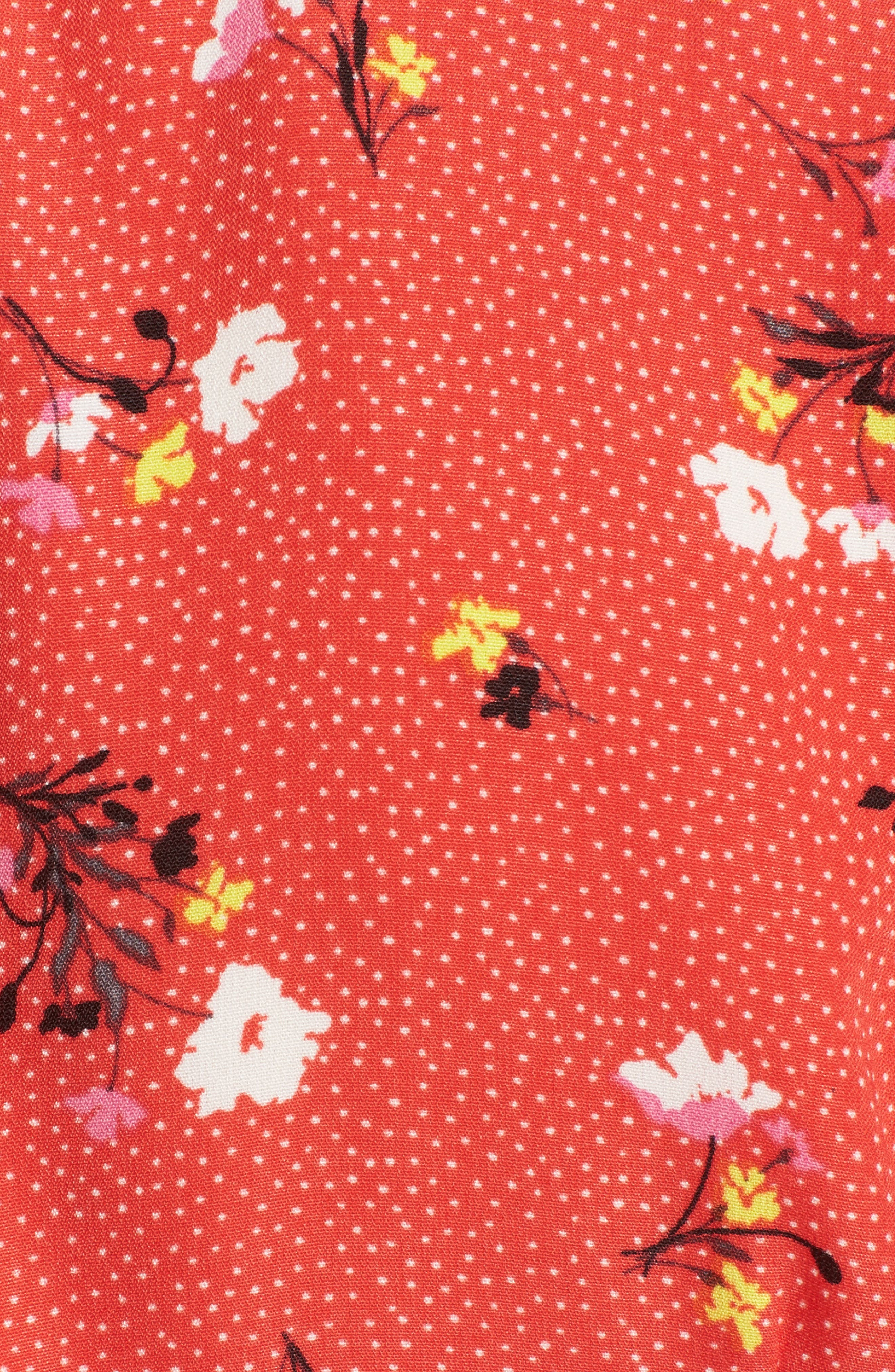 Tie Front Crop Top,                             Alternate thumbnail 5, color,                             Red Dot Floral