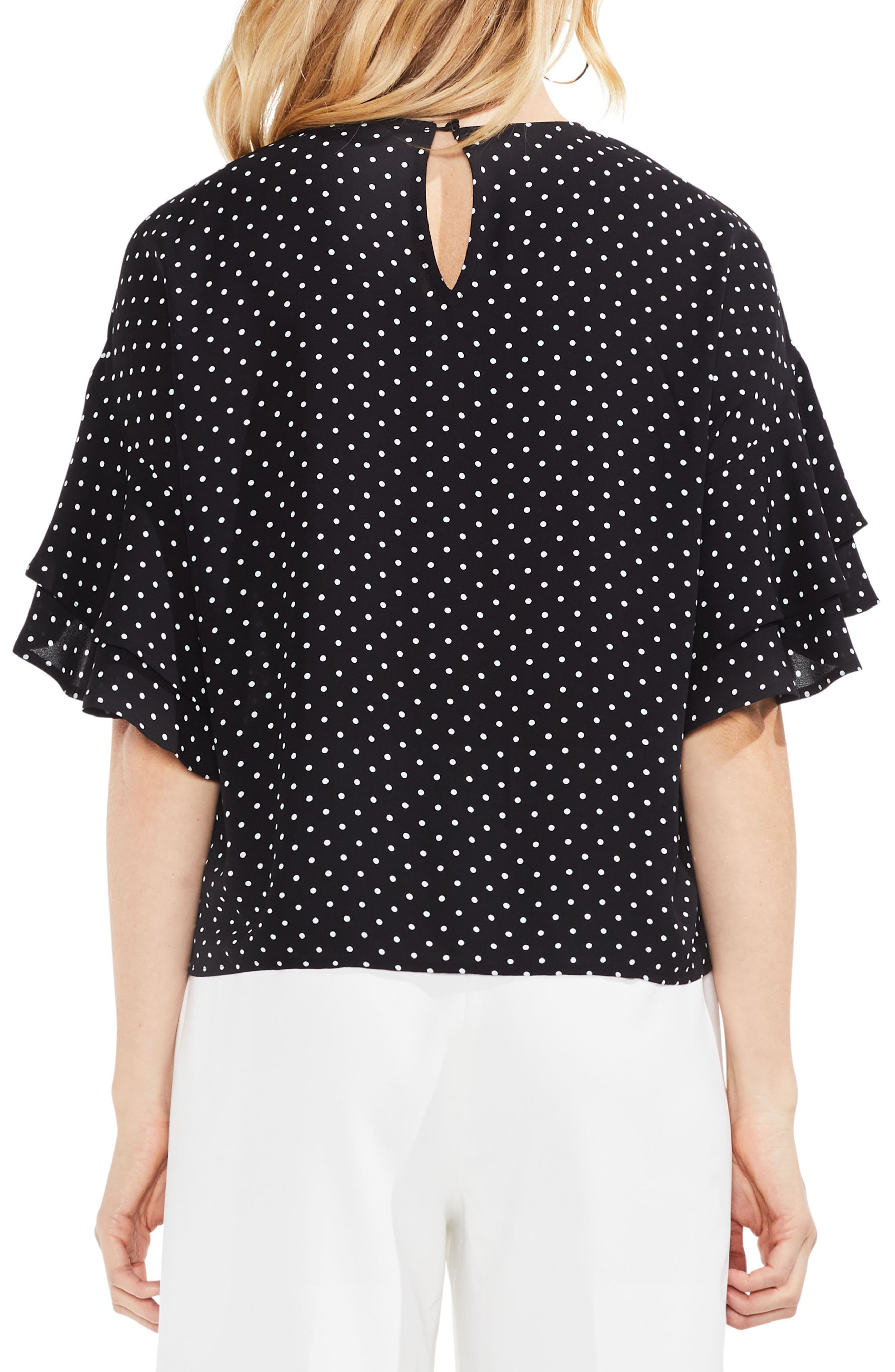 Poetic Dots Tiered Ruffle Sleeve Blouse,                             Alternate thumbnail 2, color,                             Rich Black