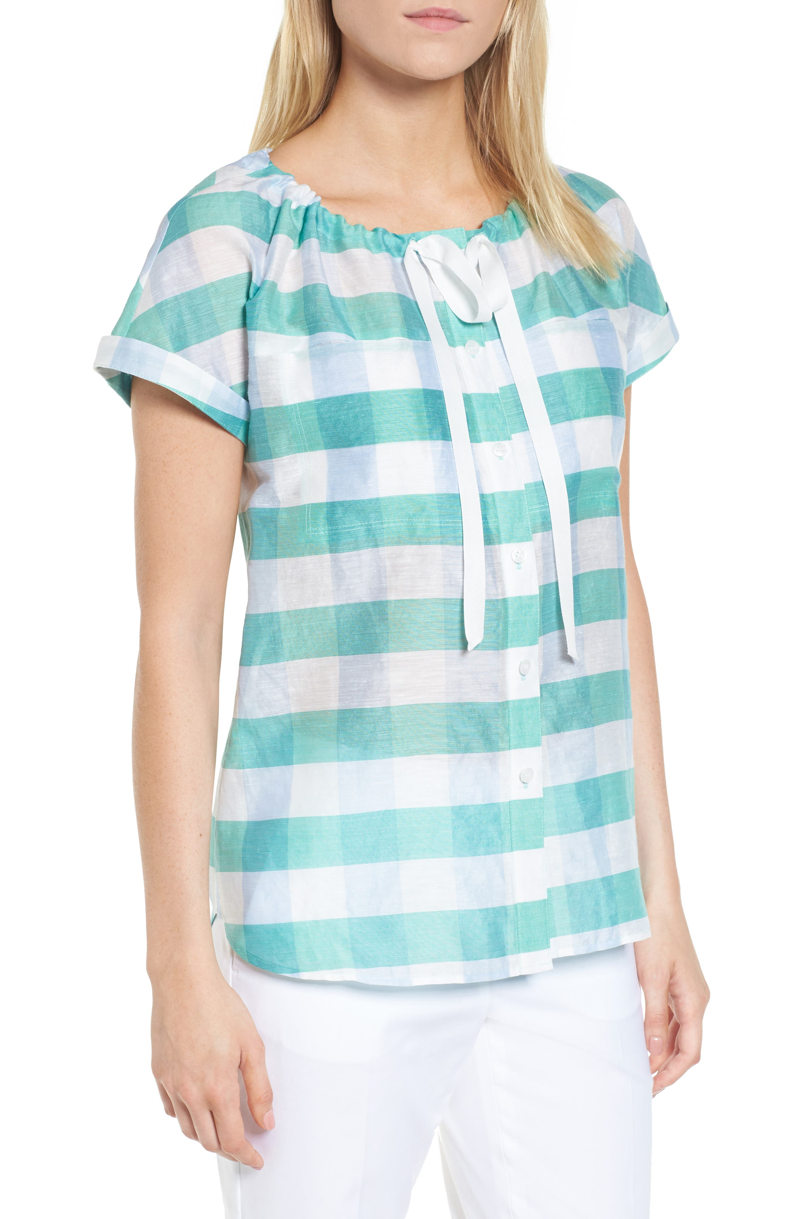 Tie Neck Check Top,                         Main,                         color, Green- Blue Feather Check