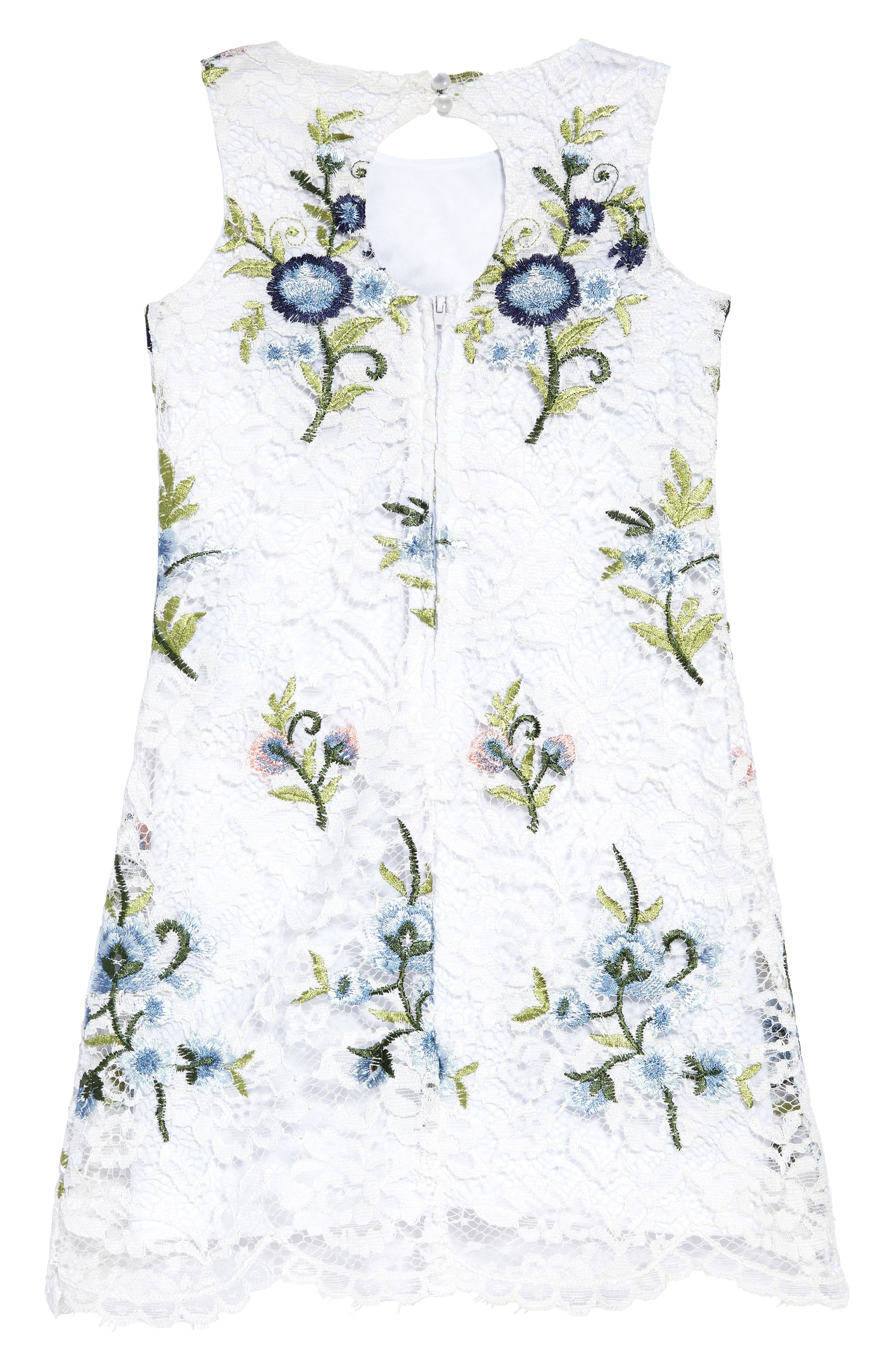 Embroidered Floral Shift Dress,                             Alternate thumbnail 2, color,                             White