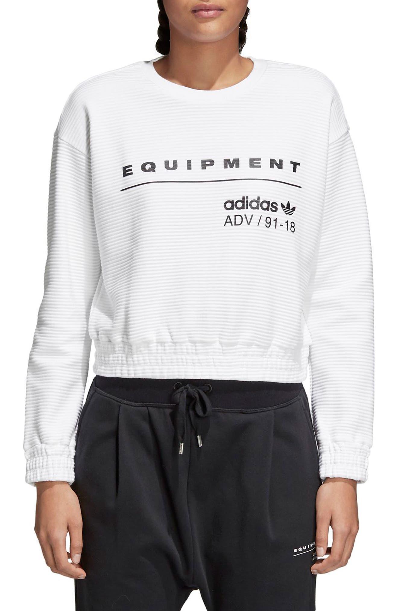 EQT Sweatshirt,                             Main thumbnail 1, color,                             White