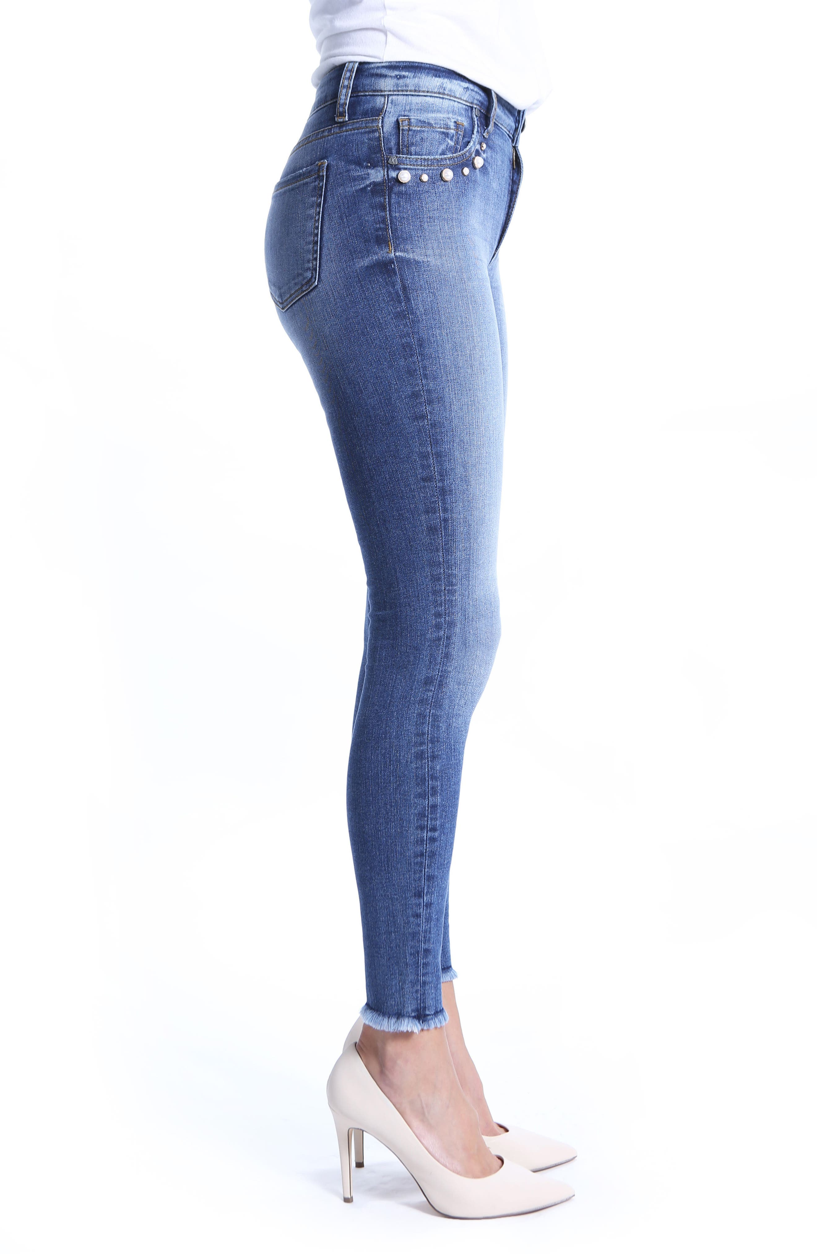 Embellished Ankle Skinny Jeans,                             Alternate thumbnail 3, color,                             Regular