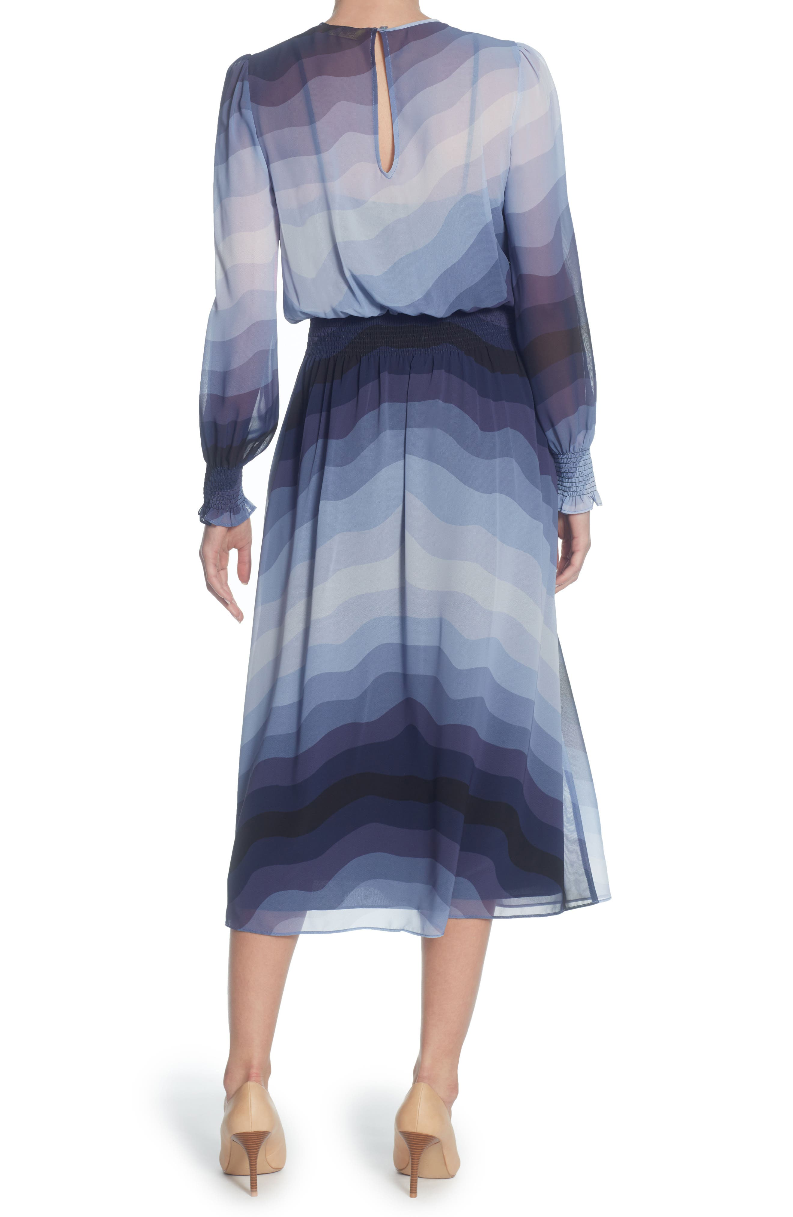 Marlieke Chiffon Midi Dress,                             Alternate thumbnail 2, color,                             Heron Wave