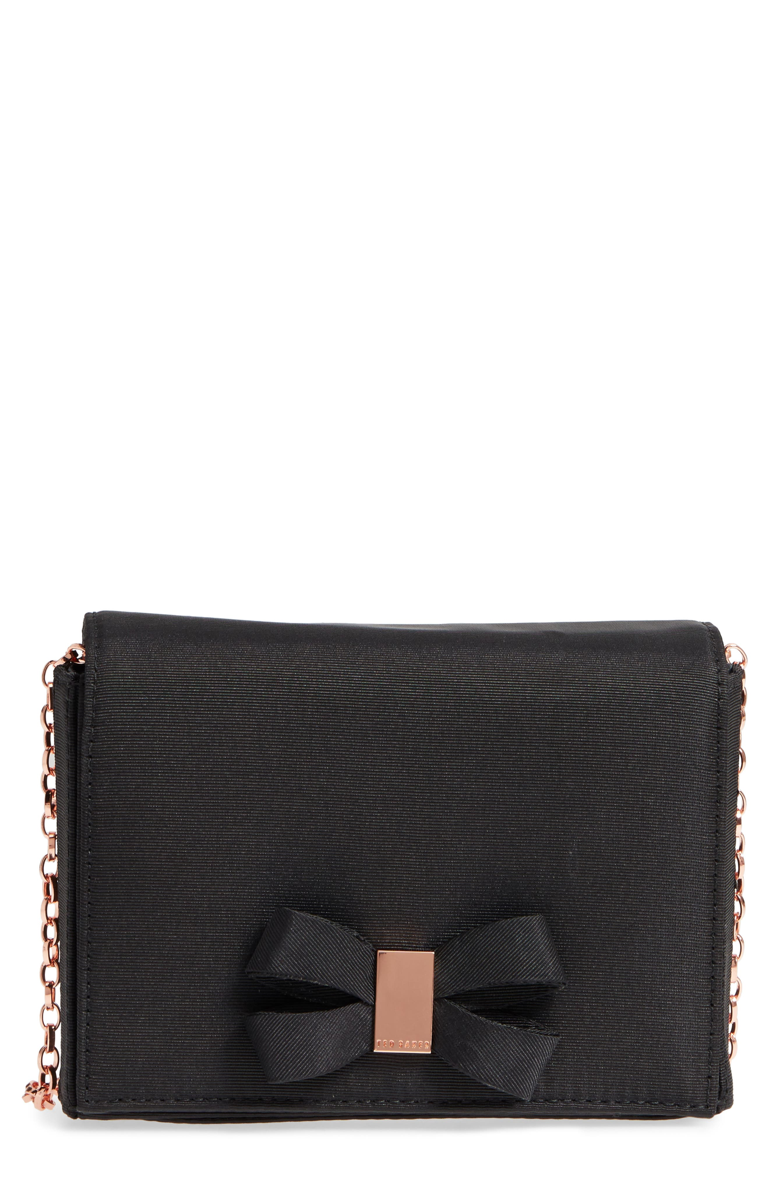 Looped Bow Clutch,                             Main thumbnail 1, color,                             Black