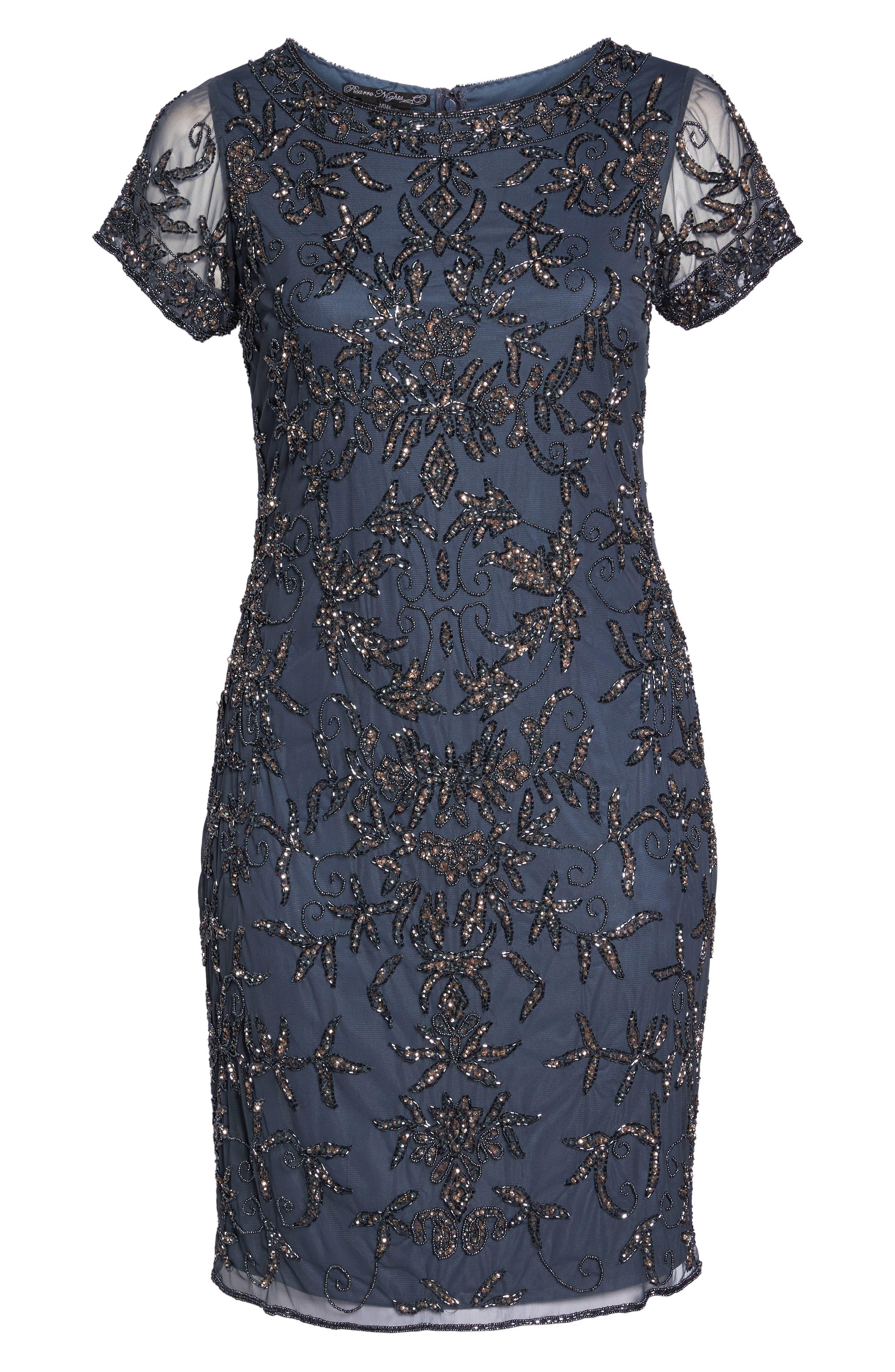Embellished Sheath Dress,                             Alternate thumbnail 6, color,                             Slate