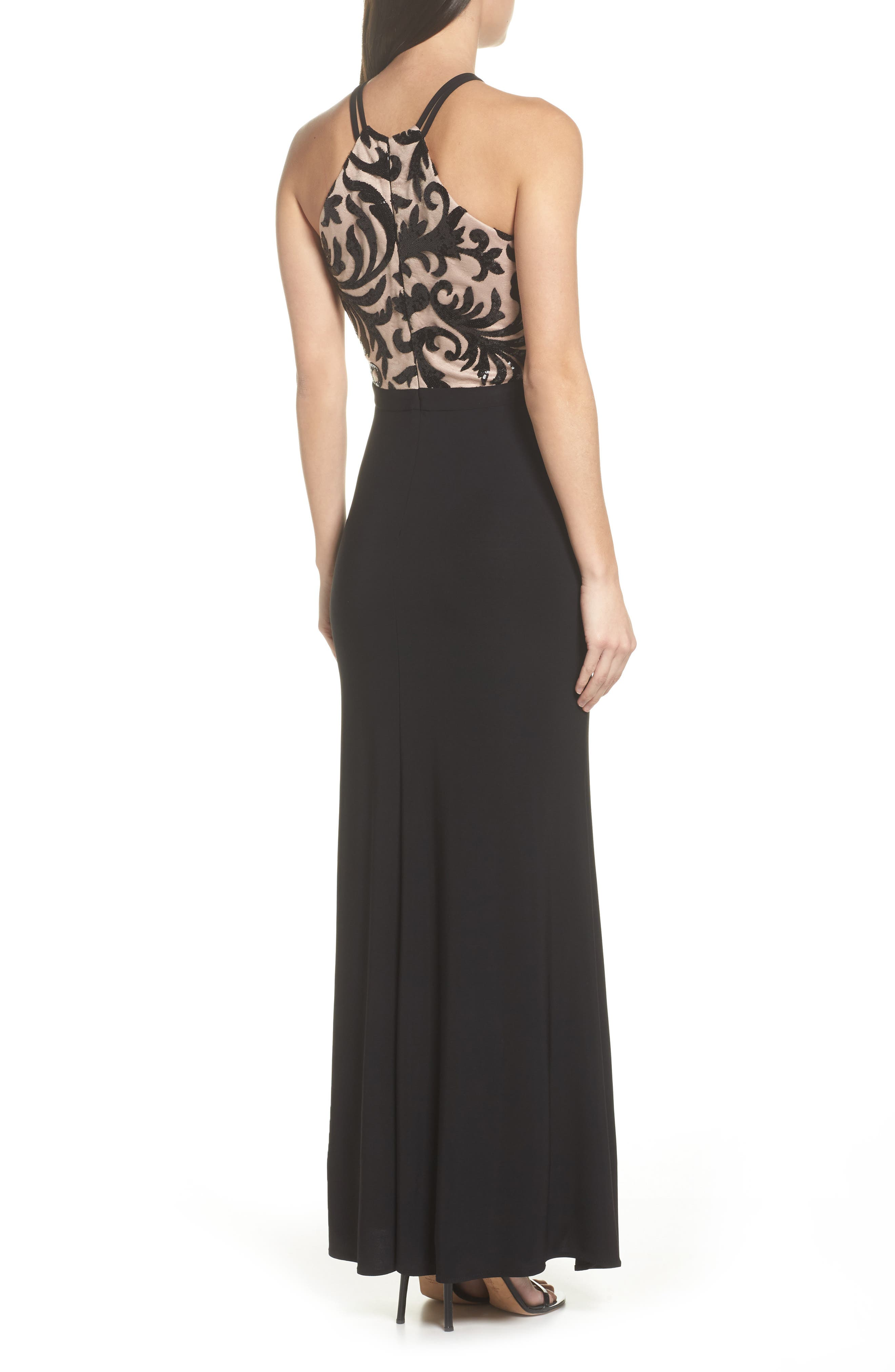 Sequin Embroidered Stretch Knit Gown,                             Alternate thumbnail 2, color,                             Black / Nude