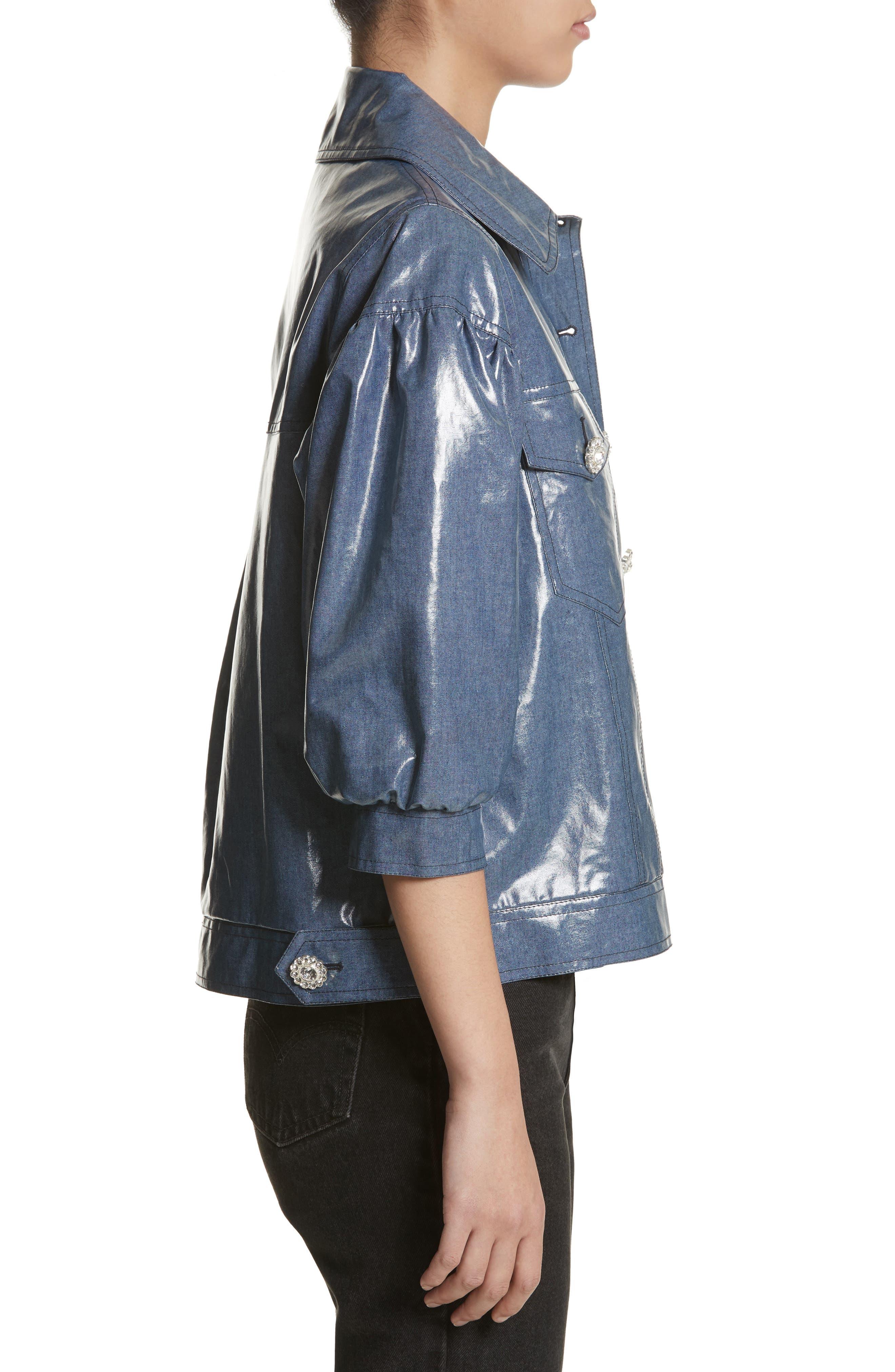 Luca Puff Sleeve Denim Jacket,                             Alternate thumbnail 3, color,                             Navy