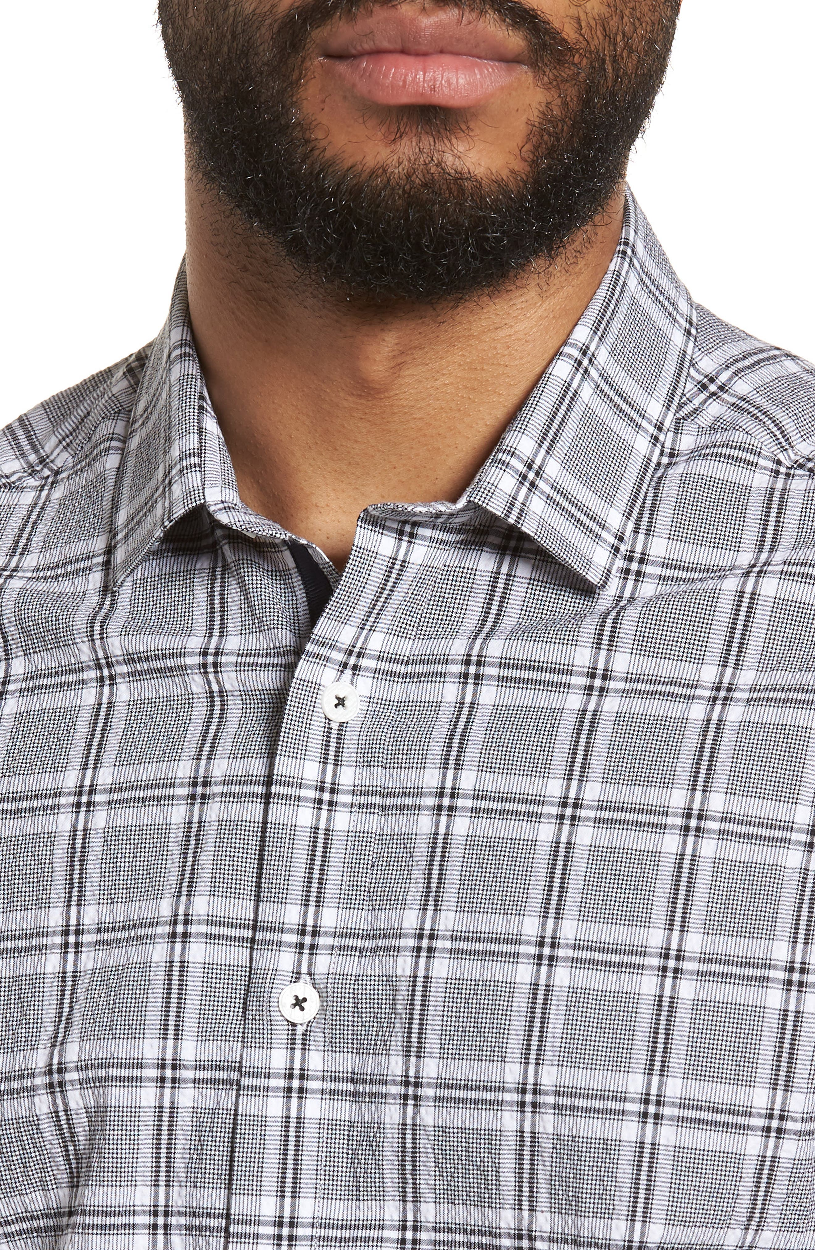 Slim Fit Plaid Seersucker Sport Shirt,                             Alternate thumbnail 4, color,                             Black Seersucker Plaid