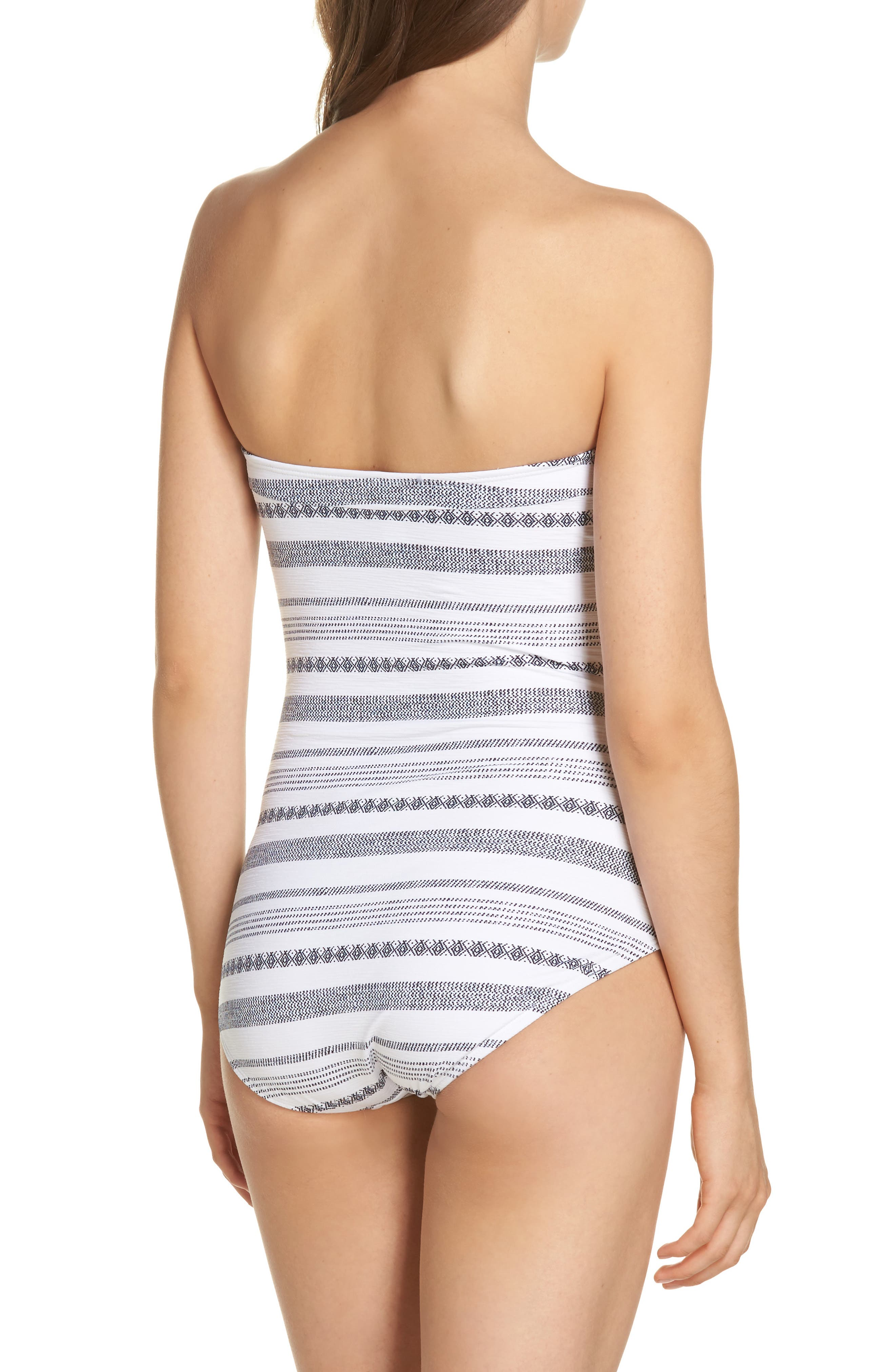 Sand Bar Stripe Shirred Bandeau One-Piece Swimsuit,                             Alternate thumbnail 2, color,                             White