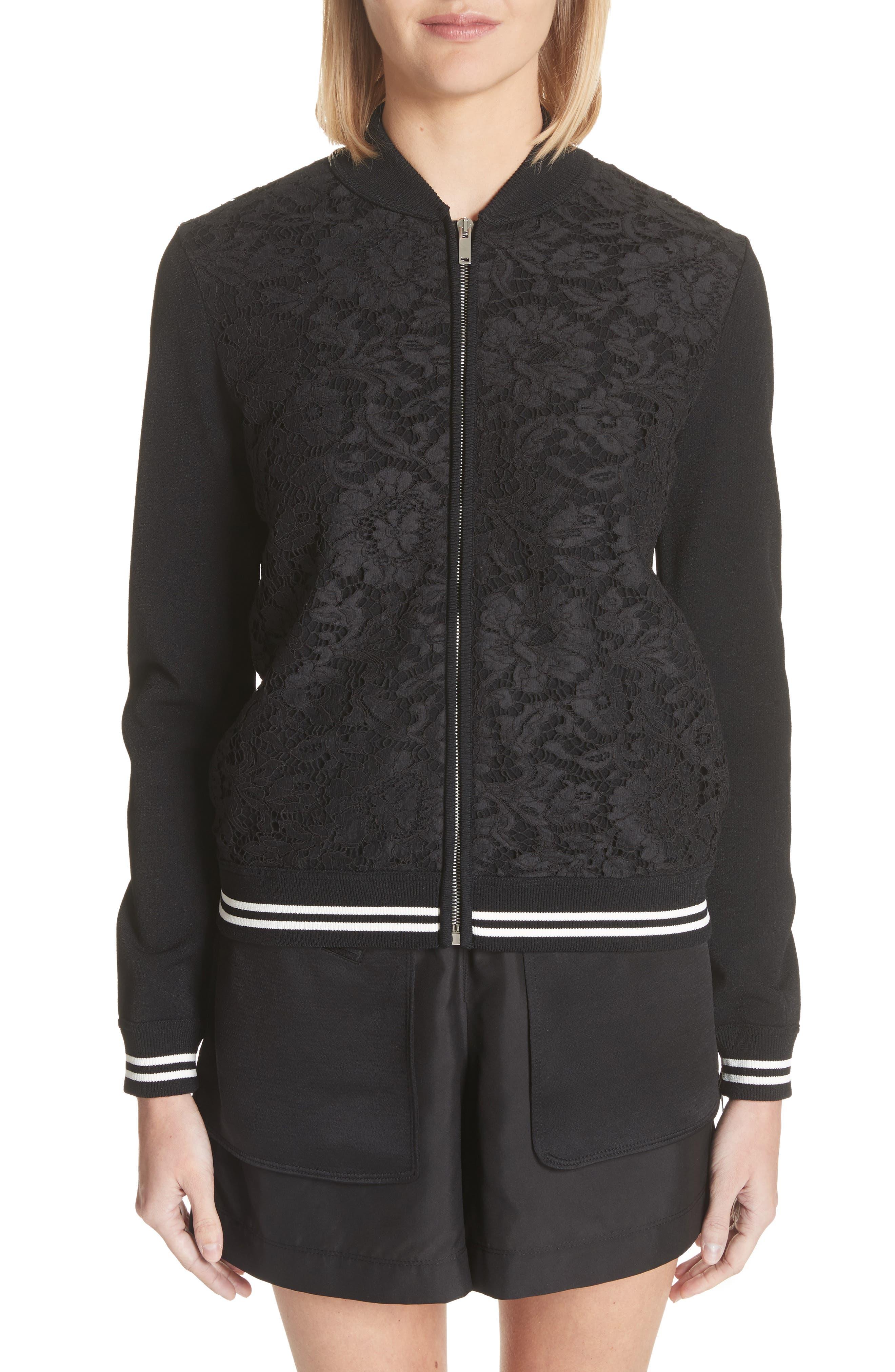 Lace Front Bomber Jacket,                         Main,                         color, Black